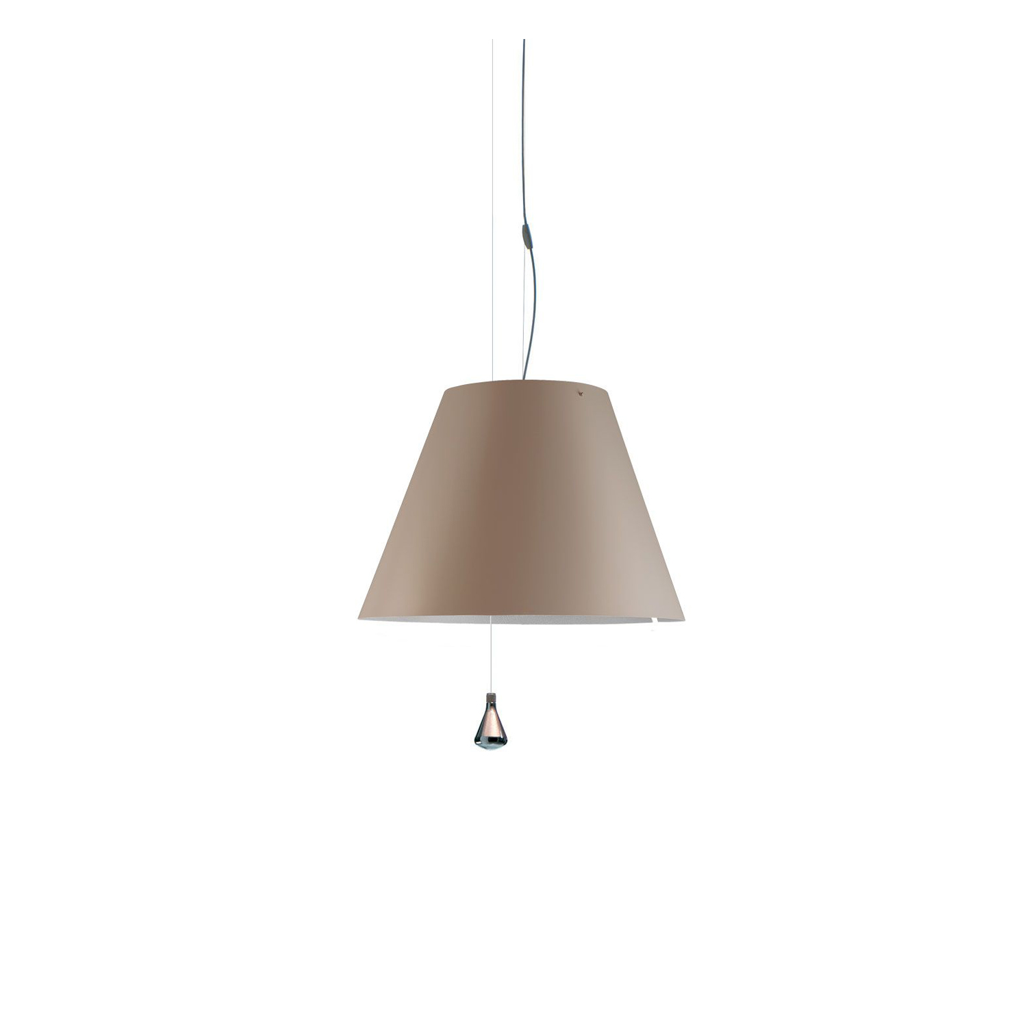 Costanza Up and Down Suspension Lamp - Elegant and light, this lamp emits a pleasant warm light through a silk-screened polycarbonate shade. The lamp's height may be adjusted by means of a characteristic steel counterweight.  Elegant and light, this lamp emits a pleasant warm light through a silk-screened polycarbonate shade. The lamp's height may be adjusted by means of a characteristic steel counterweight.   | Matter of Stuff