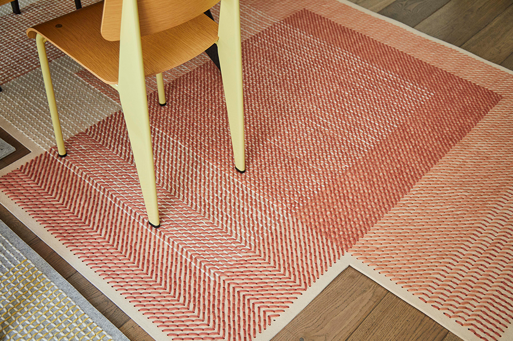 Canevas Geo - <p>A completely different application of the possibilities offered by the technique devised by Charlotte Lancelot for the Canevas collection. The manufacturing technique used to create this rug is felted wool. Using the same cross-stitch technique produced with coloured wool threads on a perforated felt base, Canevas Geo explores the nuances of colour and the various effects achieved when they are superimposed on each other. The colours in the weave intermix with each other on the Canevas Geo surface, recalling crop fields seen from the air. A composition with a truly fresh, contemporary look that has also opted for an asymmetric format in the shape of the rugs. Due to the handmade nature of the GAN product, slight variations in size, colour, finish are normal. </p>  | Matter of Stuff