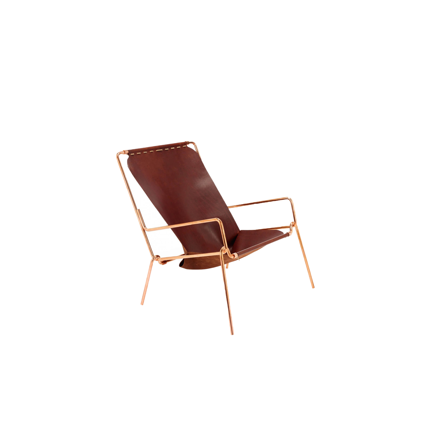 Pinch Lounge Chair - The tubular steel frame is hand bent and finished in Italy and can be disassembled to interchange the leather jackets. The chair is made out of a single piece of vegetable tanned leather and is handmade in England. This lounge chair only uses copper rivets and vegetable tanned leather cord to create a floating seat that has both the structured feel of an armchair and the relaxed feel of a hammock. The leather is changeable, different kind of covering upon request.  | Matter of Stuff