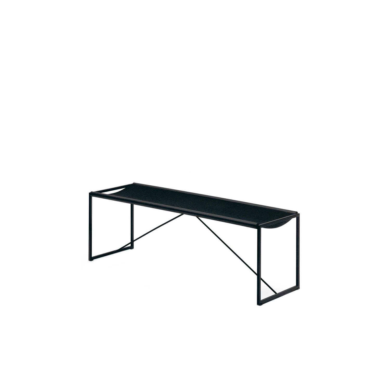 Panca Bench - Designed in 1984 by Maurizio Peregalli the Panca bench is elegant and modern while still having a subtle and sophisticated design. The frame is in all-black tubular-steel which is embossed black. The seat is made with  thousand points rubber with black extruded rubber. It's timeless design means that it can be featured almost anywhere from corridors and entryways to living rooms and dining rooms.  