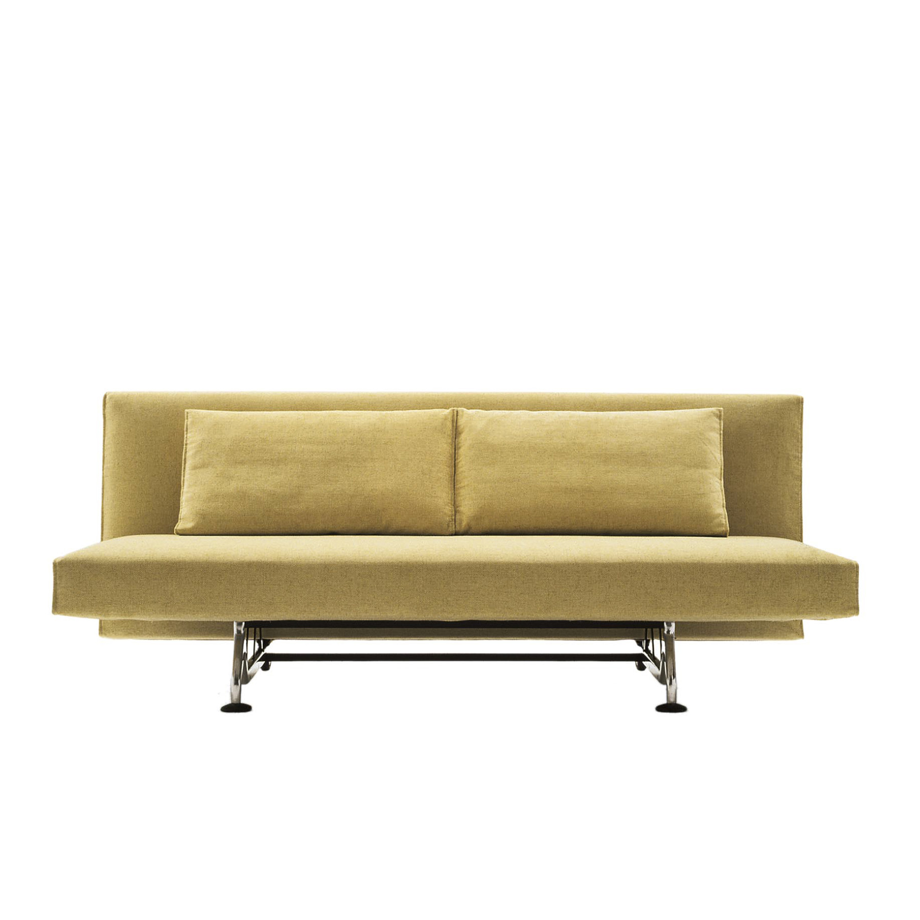 Sliding Sofa Bed - A practical yet extremely elegant sofa characterized by its base in cast aluminium which transforms itself into a comfortable double bed simply by lowering the backrest via the patented mechanism. The cushions are upholstered in duck down. All covers are removable.   Additional covers are available, please enquire for prices. | Matter of Stuff