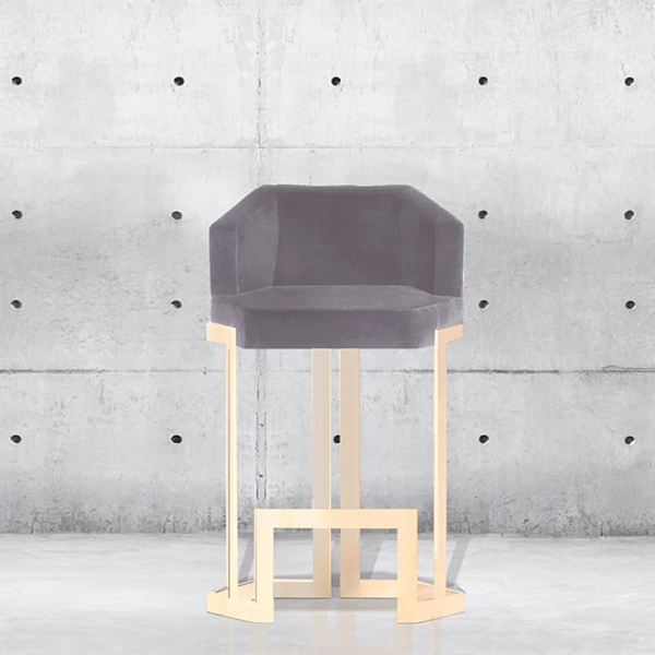 Honeybee Metal Barstool - <p>The geometrical form of this stool allied to the royal velvet, and the metal elements reflects a sense of luxury and at the same time gives a great experience of comfort. A combination of colours, materials and finishes are available. Please enquire us for more information.</p>  | Matter of Stuff