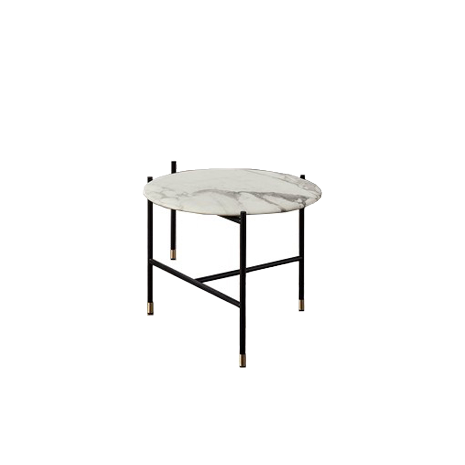 Adrian Round 50R Low Table - Collection of occasional tables featuring smooth edged tops, almost visually floating on a slim frame.  Realized in various dimensions, the Adrian coffee tables are available with tops in matt or glossy lacquer or in the different marble kinds. The frame in tubular metal can be entirely in bronzed brass or black – also completed by refined bronzed brass tips. | Matter of Stuff