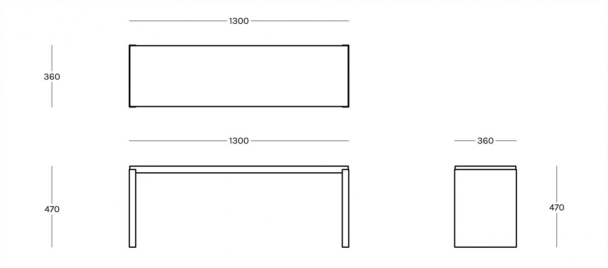 Big Irony Outdoor Bench - The Big Irony Outdoor bench is part of the Big Irony Collection as well as the Outdoor Collection. It is designed to look effortless outside and in although primarily designed for outdoor. The bench comes in three sizes and looks perfect standing alone or combined with the other sizes within the outdoor area or home.  Please note that products of Outdoor Collection are designed to be used outdoor. If left outside all the time, directly in contact with atmospherical agents without any protection, they will change as it is what happens to all outdoor products. During winter we suggest to tilt the table legs slightly in order to have water flowing off the bench and so that it does not become stagnant | Matter of Stuff
