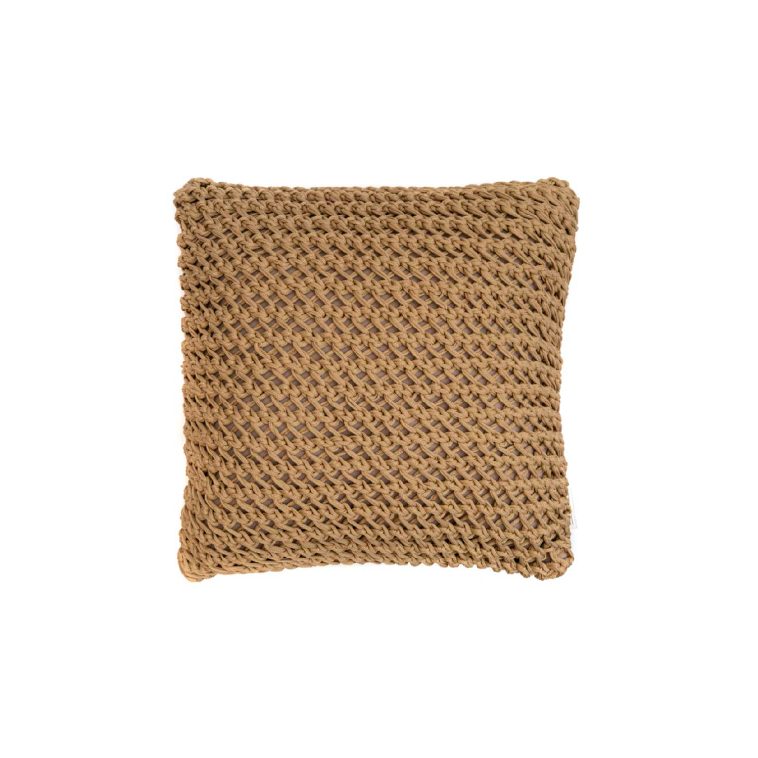 Gaia Neo Cushion Square - The Gaia Neo Cushion is carefully knitted within a trained community of women that found in their craft a way to provide for their families. The outdoor collection is made with synthetic fibres, resistant to weather exposure. The use of neoprene brings comfort and technology to the cushions.  The front panel is in neoprene combined with hand woven nautical cord, made in Brazil.  The inner cushion is in Hollow Fibre, made in the UK.  Please enquire for more information and see colour chart for reference.  | Matter of Stuff