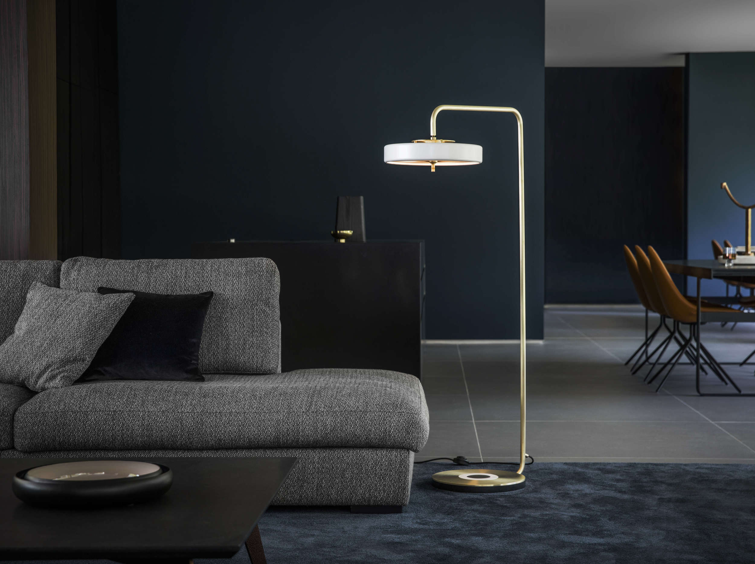 Revolve Floor Lamp - <p>The perfect partner to a reading chair or a stylish way to highlight a corner space, the Revolve Floor Lamp features an overhanging spun metal shade and a hand-brushed brass stand.</p>    Matter of Stuff