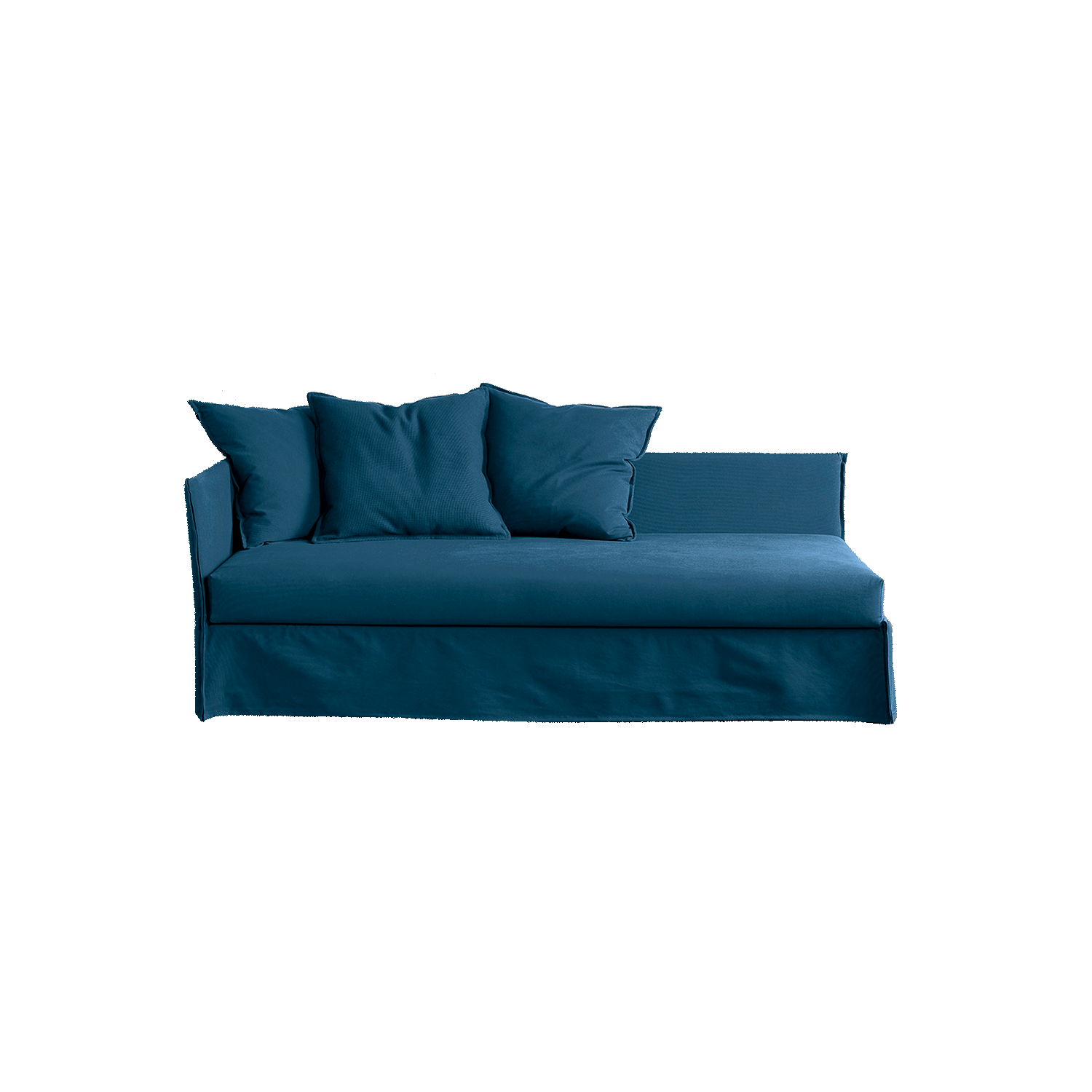 Fox Sofa - Versatile pieces suitable for both the living-room or the night area, distinguished by an essential and pure design; ideal pieces for guestrooms, holiday homes and beautiful casual conversation or lounge corners. Compact volumes and clean lines, with soft covers enriched by decorative cushions, these elements are perfect for any interior style, while the various seating elements offer a great flexibility in terms of configuration.  The sofa is available in different colours and configurations. Please enquire for more details. | Matter of Stuff