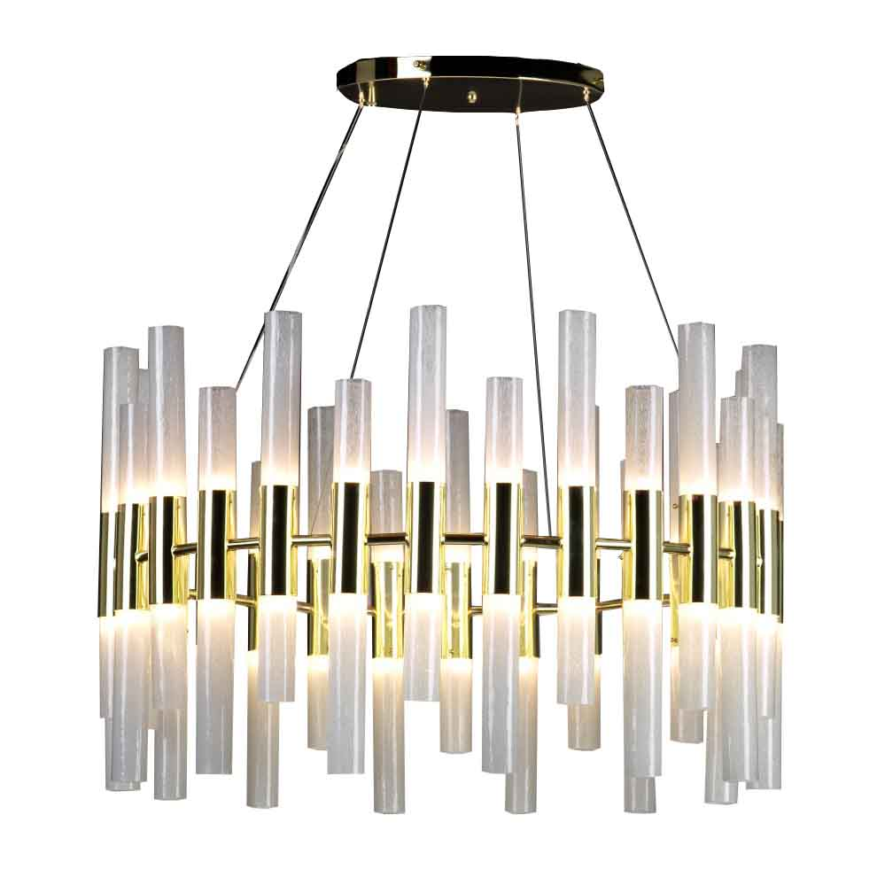 Donà Candle Large - The most striking thing about this chandelier is the shape, vaguely reminiscing a medieval era. The important brass frame contains 56 Murano glass tubes. It fits in high ceiling rooms  giving it an elegant cozy atmosphere. Each tube lights by a G9 led 2.5w bulb.  | Matter of Stuff