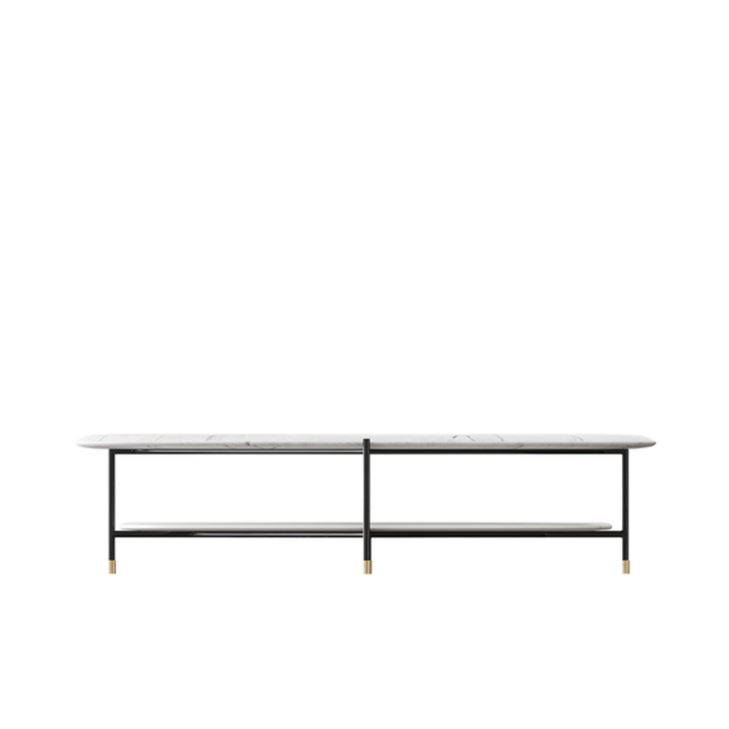 Adrian Rectangular Low Table - Collection of occasional tables featuring smooth edged tops, almost visually floating on a slim frame.  Realized in various dimensions, the Adrian coffee tables are available with tops in matt or glossy lacquer or in the different marble kinds. The frame in tubular metal can be entirely in bronzed brass or black – also completed by refined bronzed brass tips. | Matter of Stuff