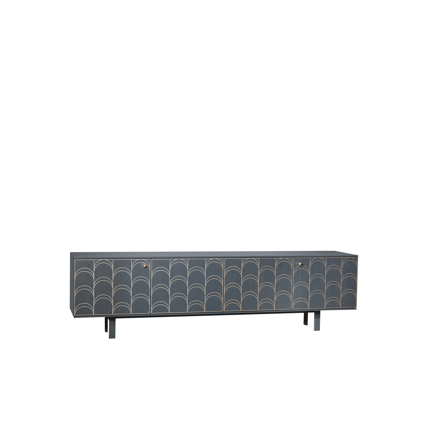 Célia Sideboard - Célia takes inspiration from the Art Déco movement of the 1920s and brings it to a current, highimpact context. The protagonist is the decoration which reminds us just how much a weave can enrich an environment, conversing with different materials such as wood and copper. The doors open like a book whilst the pattern is silk-screen printed on ash or walnut.