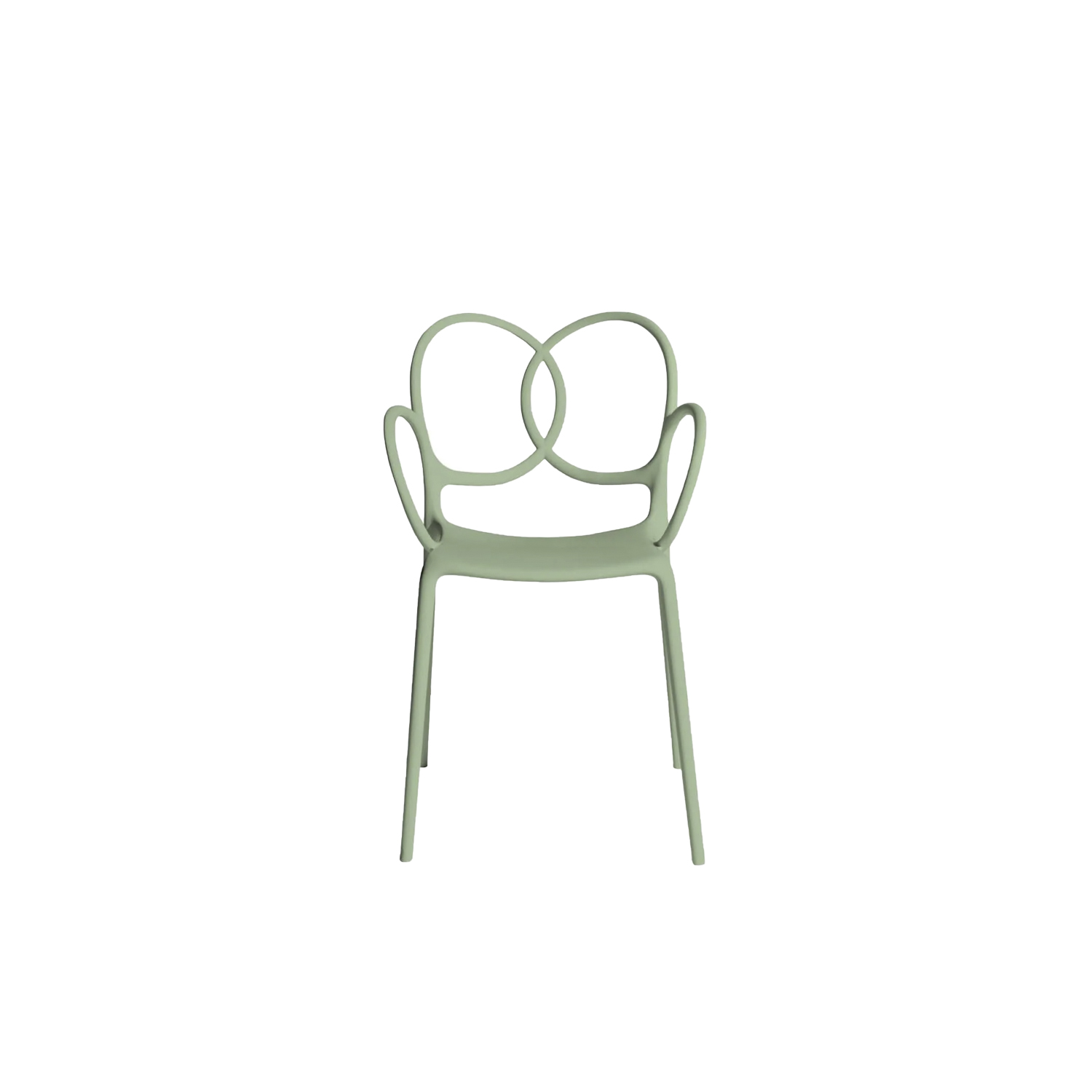 """Sissi Armchair - Sissi is a sculptural, very versatile, self- centred and contemporary piece. """"Its modern design winks cheekily at the past and at the female world. The merging and intersecting rings look as if they have been bent by the hand of the viennese craftsmen, whom since over a century ago, would offer the world an elegant and design archetype. The connections, linked in such a sensual way, turn sissi into a refined and sculptural piece, just like the ultimate viennese chair - famous for its wooden curves- it is inspired by. Just like a confident, self-assured women changes her clothes to suit her mood, this chair is complemented by an essential part of its design, the seat cover.""""Ludovica and Roberto Palomba.  The material with which this collection is made derives from industrial recycling coming from internal production waste, and therefore controlled, and from post-consumer recycling, that is from products disposed of with separate collection - such as PET bottles and containers, for instance - and recycled, thus giving life to new objects.  All the seats made with this material are characterized by neutral colors - such as black in particular - which makes them homogeneous. 