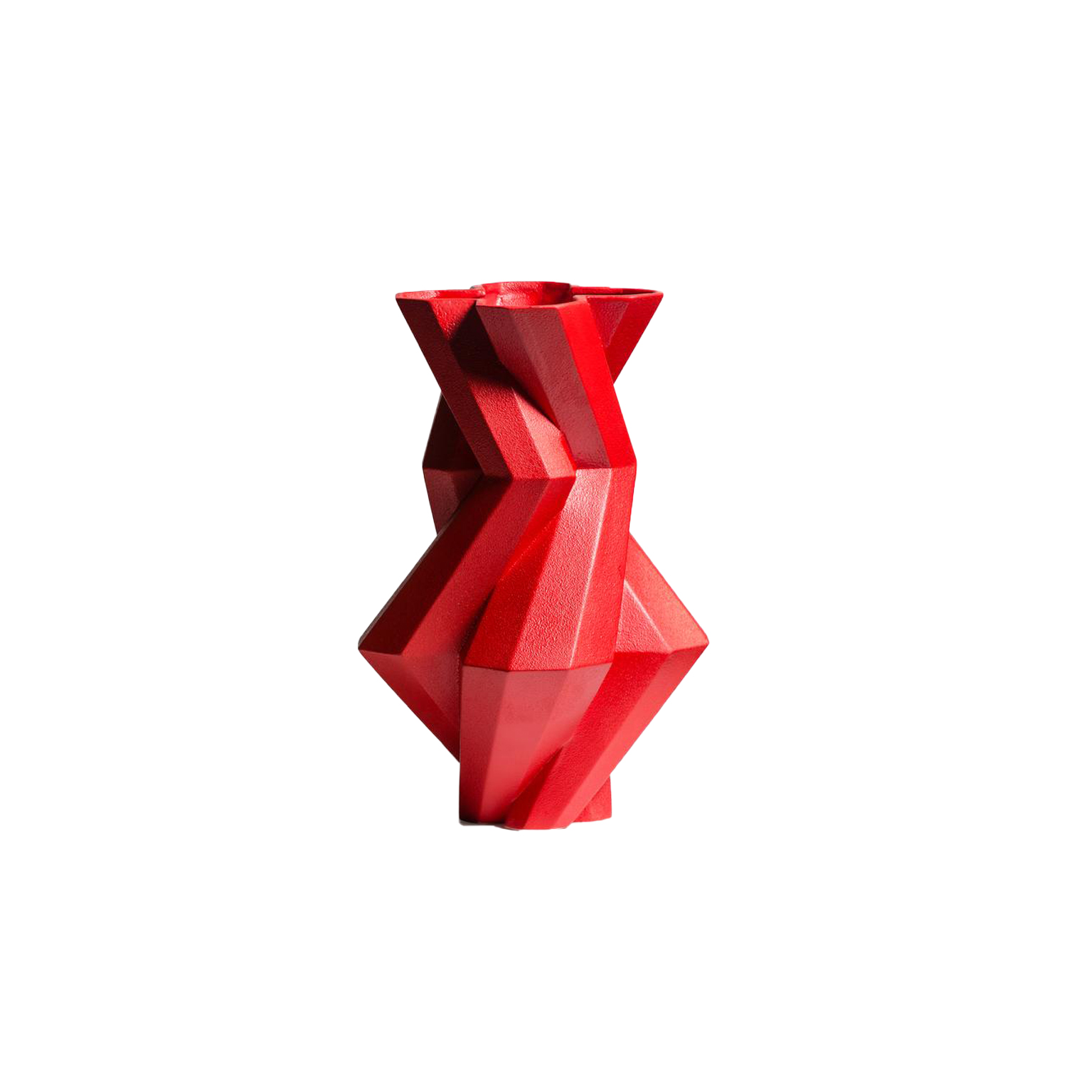 Fortress Castle Vase Red - Designer Lara Bohinc explores the marriage of ancient and futuristic form in the new Fortress Vase range, which has created a more complex geometric and modern structure from the original inspiration of the octagonal towers at the Diocletian Palace in Croatia. The resulting hexagonal blocks interlock and embrace to allow the play of light and shade on the many surfaces and angles. There are four Fortress shapes: the larger Column and Castle (45cm height), the Pillar (30cm height) and the Tower vase (37cm height). These are hand made from ceramic in a small Italian artisanal workshop and come in three finishes: dark gold, bronze and speckled white.  | Matter of Stuff