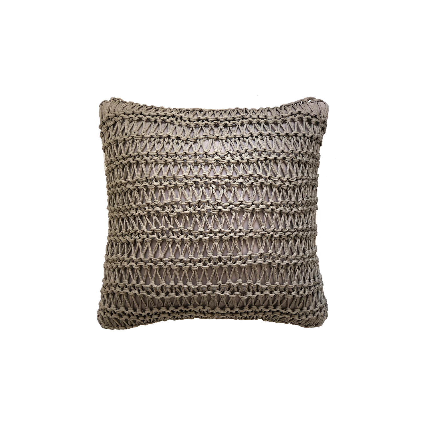 Veleiro Neo Cushion Square - The Veleiro Neo Cushion is carefully knitted within a trained community of women that found in their craft a way to provide for their families. The outdoor collection is made with synthetic fibres, resistant to weather exposure. The use of neoprene brings comfort and technology to the cushions.  The front panel is in neoprene combined with hand woven nautical cord, made in Brazil.  The inner cushion is in Hollow Fibre, made in the UK.  Please enquire for more information and see colour chart for reference.  | Matter of Stuff