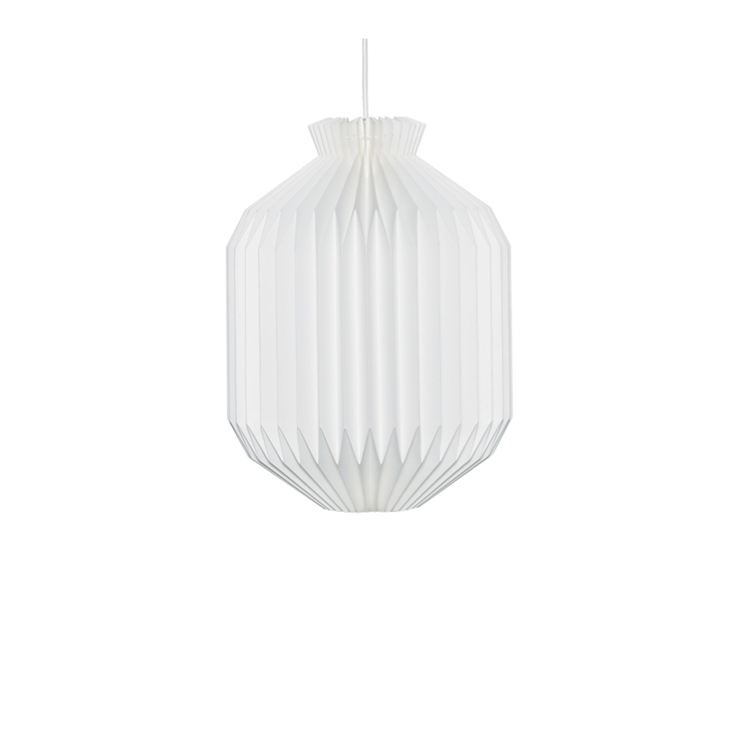 Model 105 Pendant - In 1945 Mogens Koch simplified the myriad of cross-pleats in Kaare Klint's Fruit lamp to create this more stringent lampshade design. The oval shape gives the lamp a more sedate expression, closely allied to traditional Japanese paper lamps. The enclosed shape makes it suitable for hanging from a high ceiling. 105 Pendant is available in paper or lampshade foil with two different sizes.   This item is only available for special orders. Please allow for a short delivery delay.   Matter of Stuff