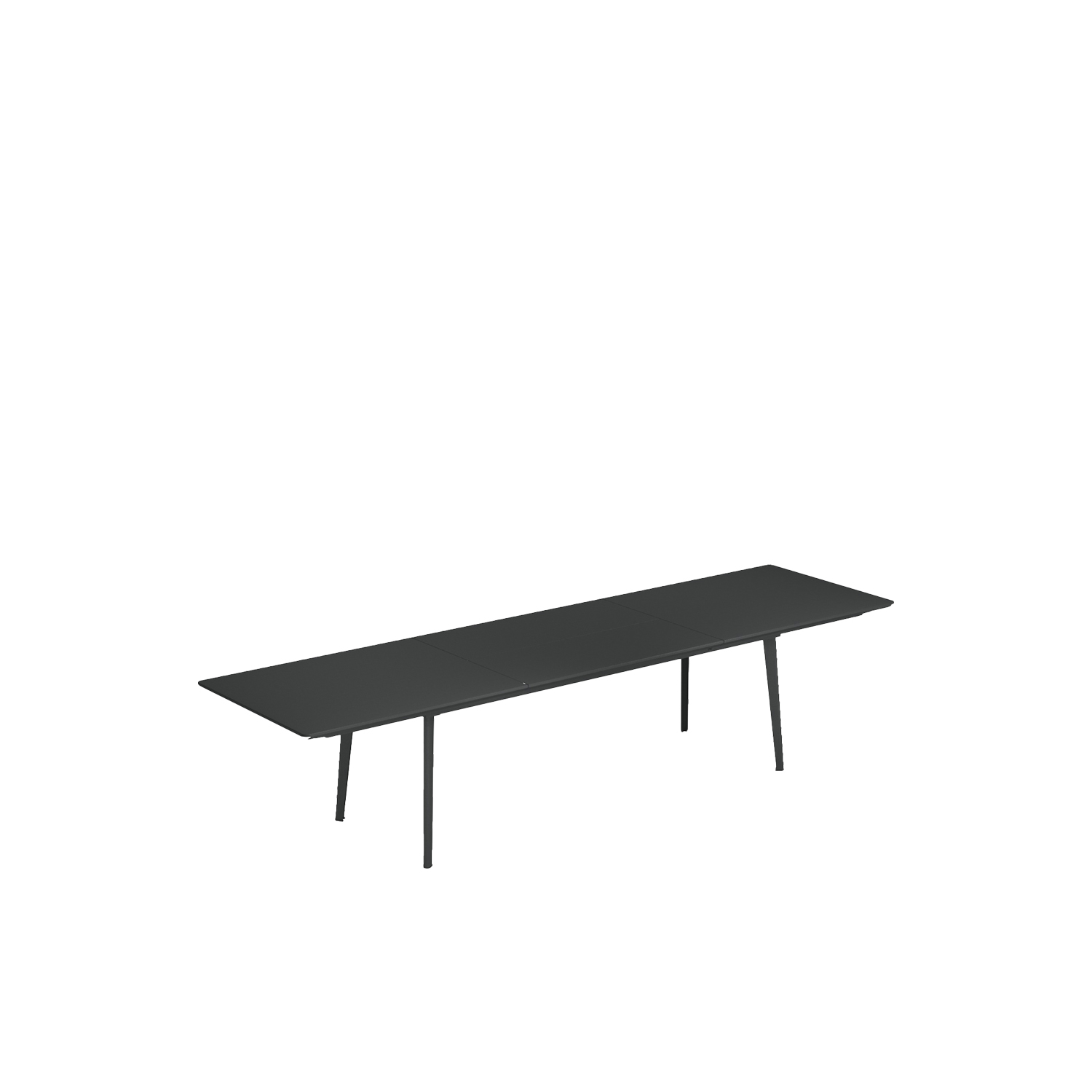 Plus 4 Extensible Table - Plus4 collection is made up of extendible tables: one with sizes 160+110x 90 cm and another one with sizes 220+110x90 cm. The surface is made of press-formed steel, with careful work to the finishes for a better aesthetic effect. Used to allow extensibility of the surface, the rails are specifically designed by EMU for this line. The butterfly opening mechanism of the inner extension makes it easier to open these tables. Comparing to a traditional extendible table, the 110 cm extension allows adding 4 seats instead of 2, increasing the possibility of use for this product. Furthermore, the extension of the table is designed in a way that all the seats fit easily without any impediment. There are two designs available for the legs: round and conical.