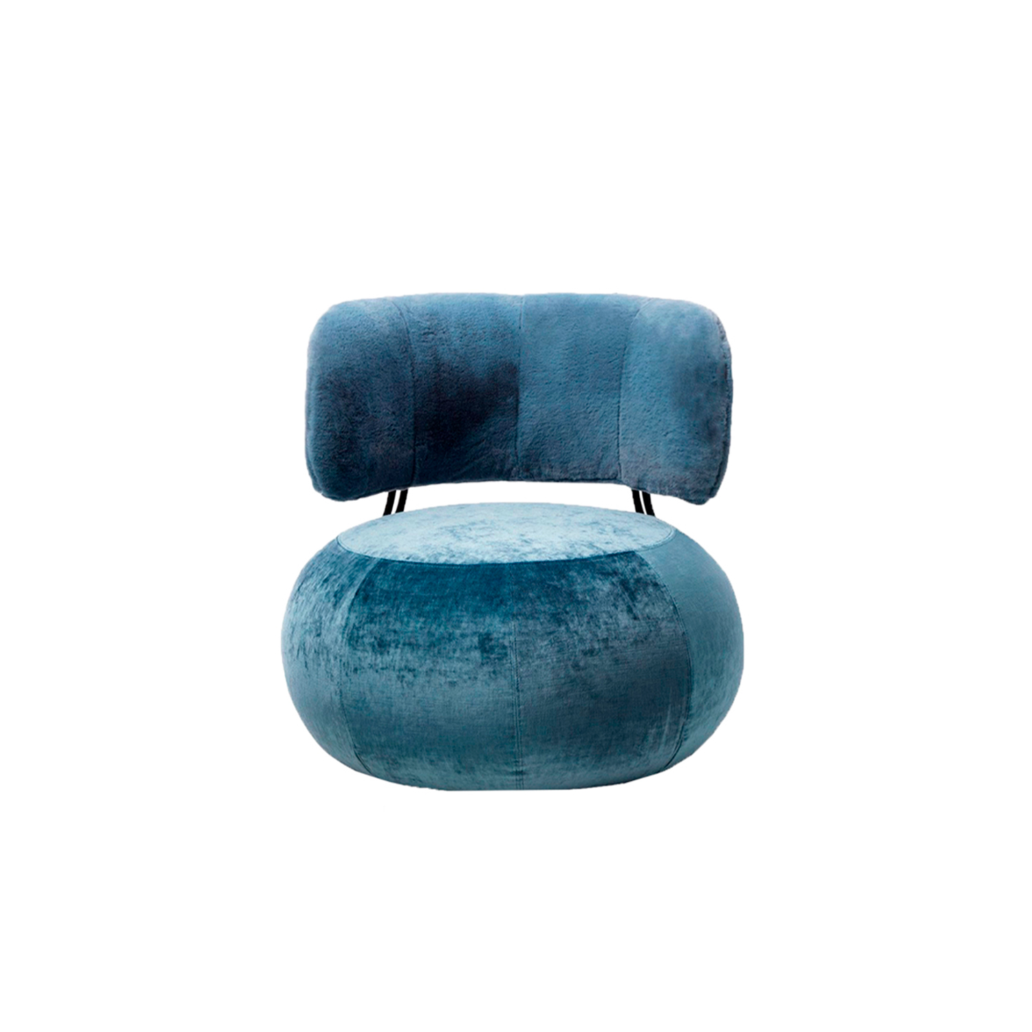 Baby Geo Lounge Armchair - The Geo collection is enriched with a new element: a completely rounded armchair created utilising the namesake pouf as its seat.   The metal rod structure supports the curved padded wooden back. The proportions are generous without being over-bearing.   The new Geo poufs in 75 cm are designed to accommodate the structure of the backrest and can be easily attached to the base of the pouf even at a later time.   Structure finishing (gray RAL 7021, satin brass, glossy copper ) Additional removable cover is available, please enquire for prices.    Materials Small armchair is in wood covered with variable-density polyurethane foam and clothed with resin 200gr/sqm coupled to velveteen. Feet in 14 mm wire drawn with chrome or painted finish. Seating pouf's feet are in black PVC h 15 mm. | Matter of Stuff