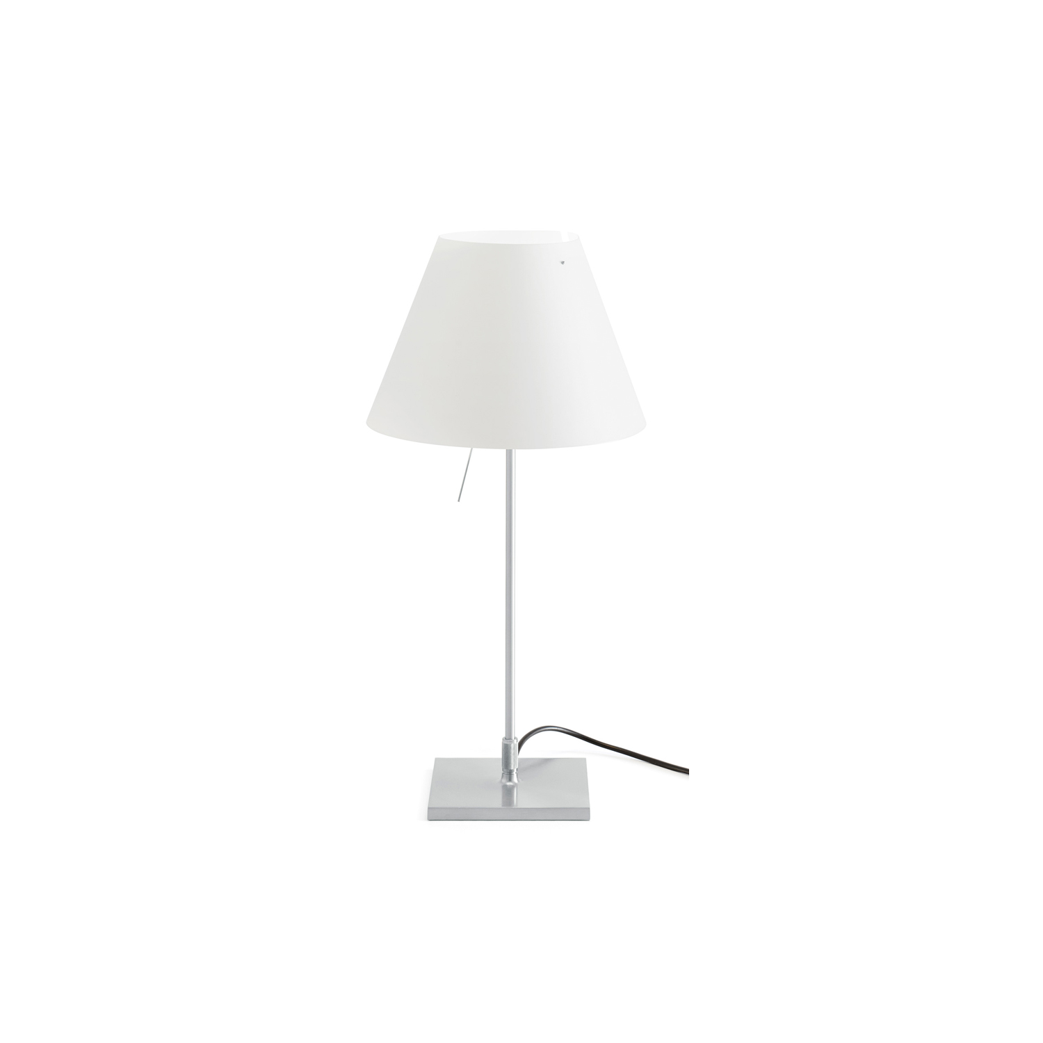 Costanzina Table Lamp -  A discrete but solid presence, Costanzina can be easily positioned in any room, without stylistic limitations. The polycarbonate shade balances on just two points of the aluminium structure. If bumped, the shade can swing but doesn't fall. | Matter of Stuff