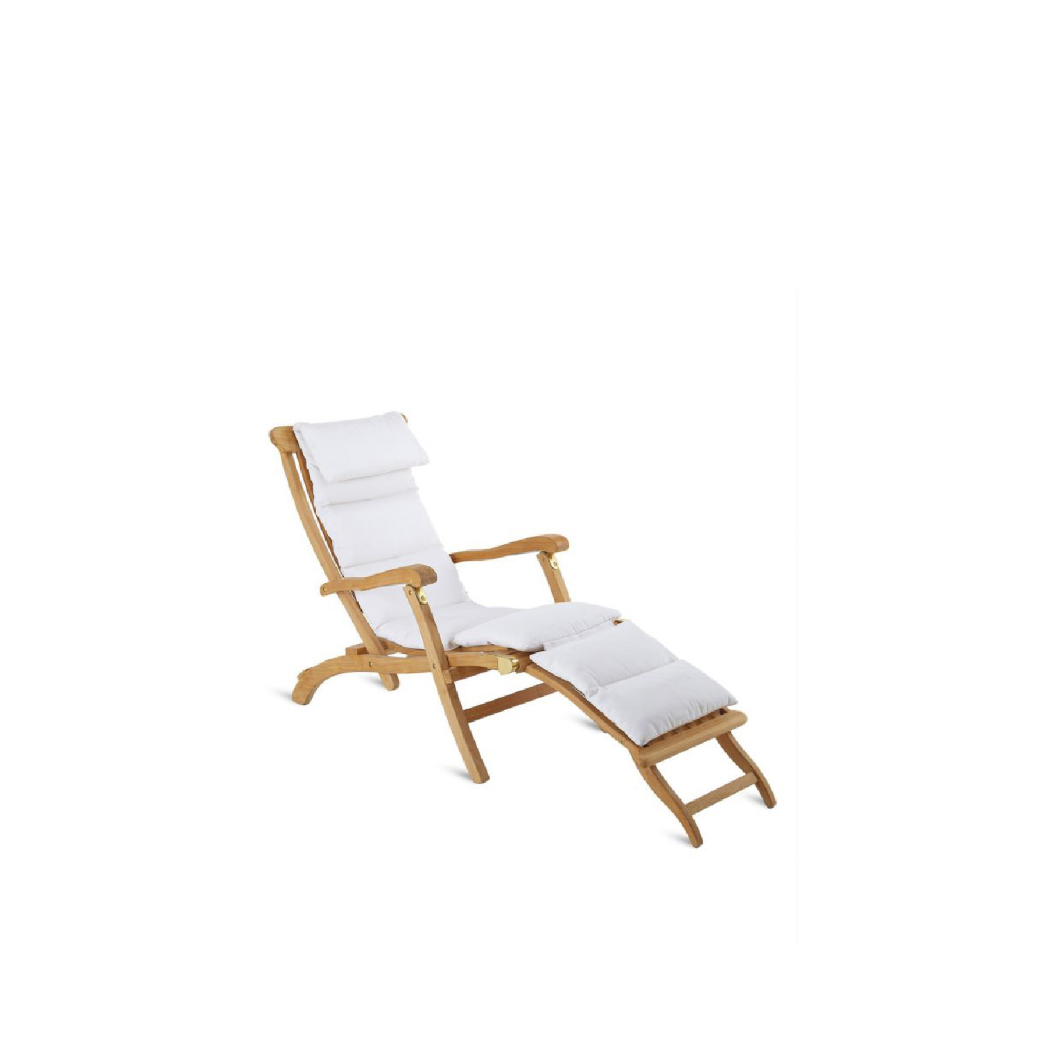 Milton Folding Deckchair - The rich Milton collection is particularly loved by those in search of traditions that extol the sinuous shades of teak wood, creating tasteful, timeless atmospheres.   Faithful reproduction of the armchairs on the first transatlantic cruises, the MILTON chaise-longue is folding and adjustable to three positions and can become a classical armchair thanks to its removable footrest. | Matter of Stuff