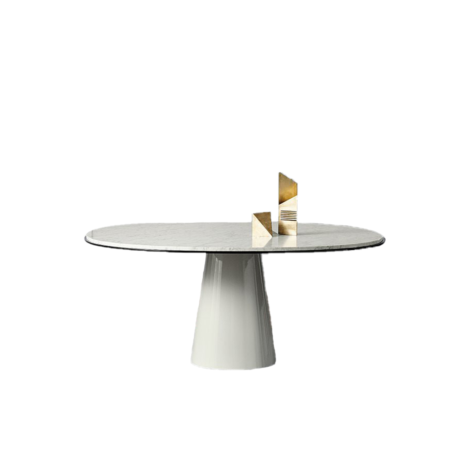Owen Round Dining Table - A pedestal dining table, available in standard dining heights. Marbles, lacquers, woods and bronzed brass offer multiple interpretations. | Matter of Stuff
