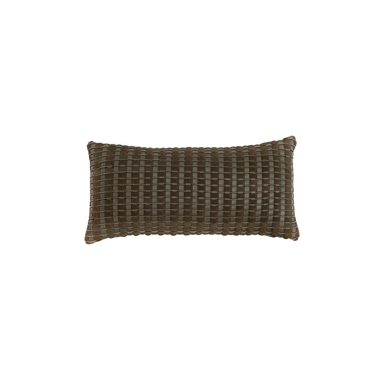 Camboja Woven Leather Cushion Small - The Camboja Woven Leather Cushion is designed to complement an ambient with a natural and sophisticated feeling. This cushion style is available in pleated leather or pleated suede leather. Elisa Atheniense woven handmade leather cushions are specially manufactured in Brazil using an exclusive treated leather that brings the soft feel touch to every single piece.   The front panel is handwoven in leather and the back panel is 100% Pes, made in Brazil.  The inner cushion is available in Hollow Fibre and European Duck Feathers, made in the UK.  Please enquire for more information and see colour chart for reference.   | Matter of Stuff