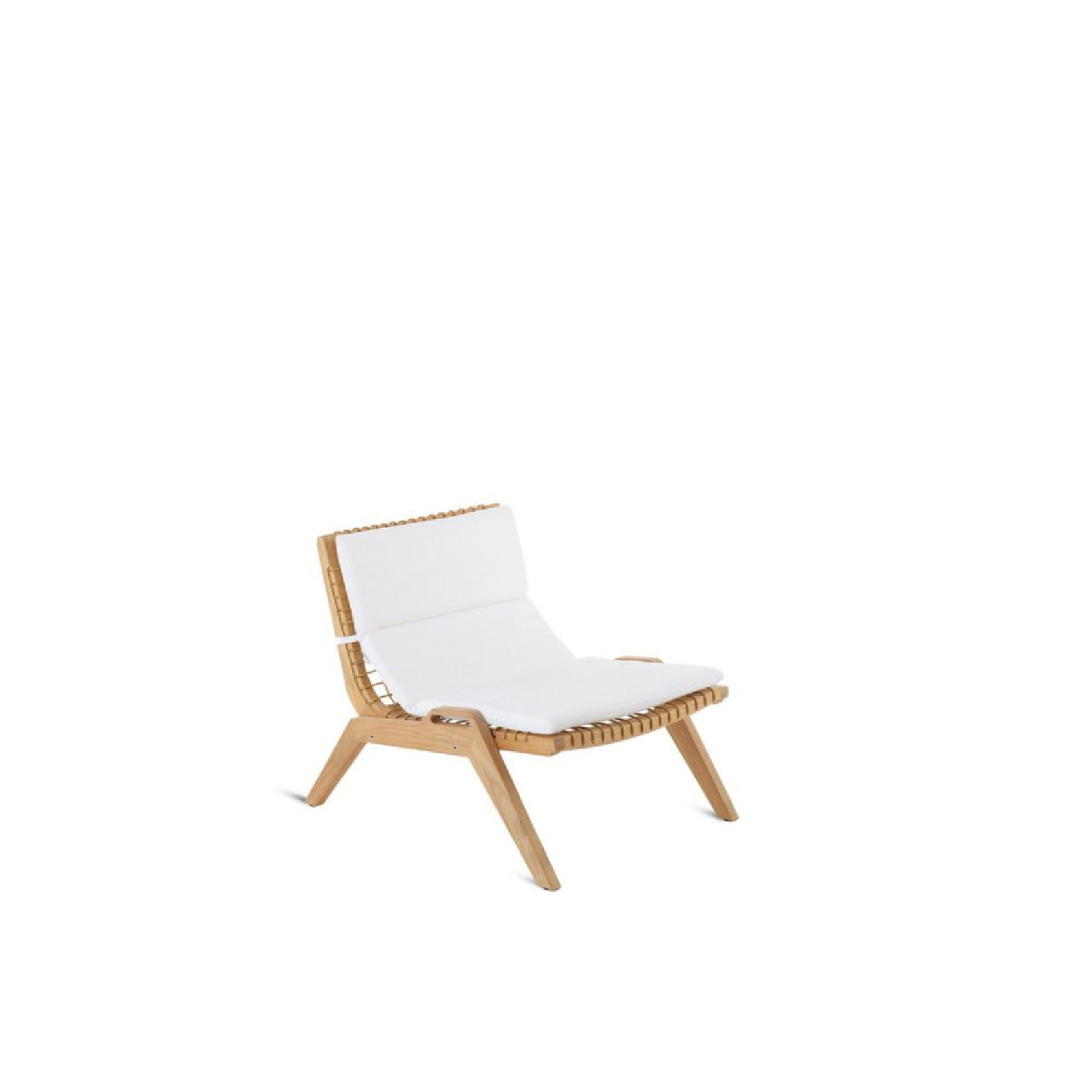 Synthesis Stackable Lounge Armchair - Synthesis is a rich, versatile line characterized by the original combination of teak and synthetic fibre. This union creates a unique large mesh product, creating an elegant collection of pure designs.  Structure: teak and Synthetic fibre WaProLace® wicker natural. Cushions: removable covers in 100% acrylic fabric, Diamante colour | Matter of Stuff