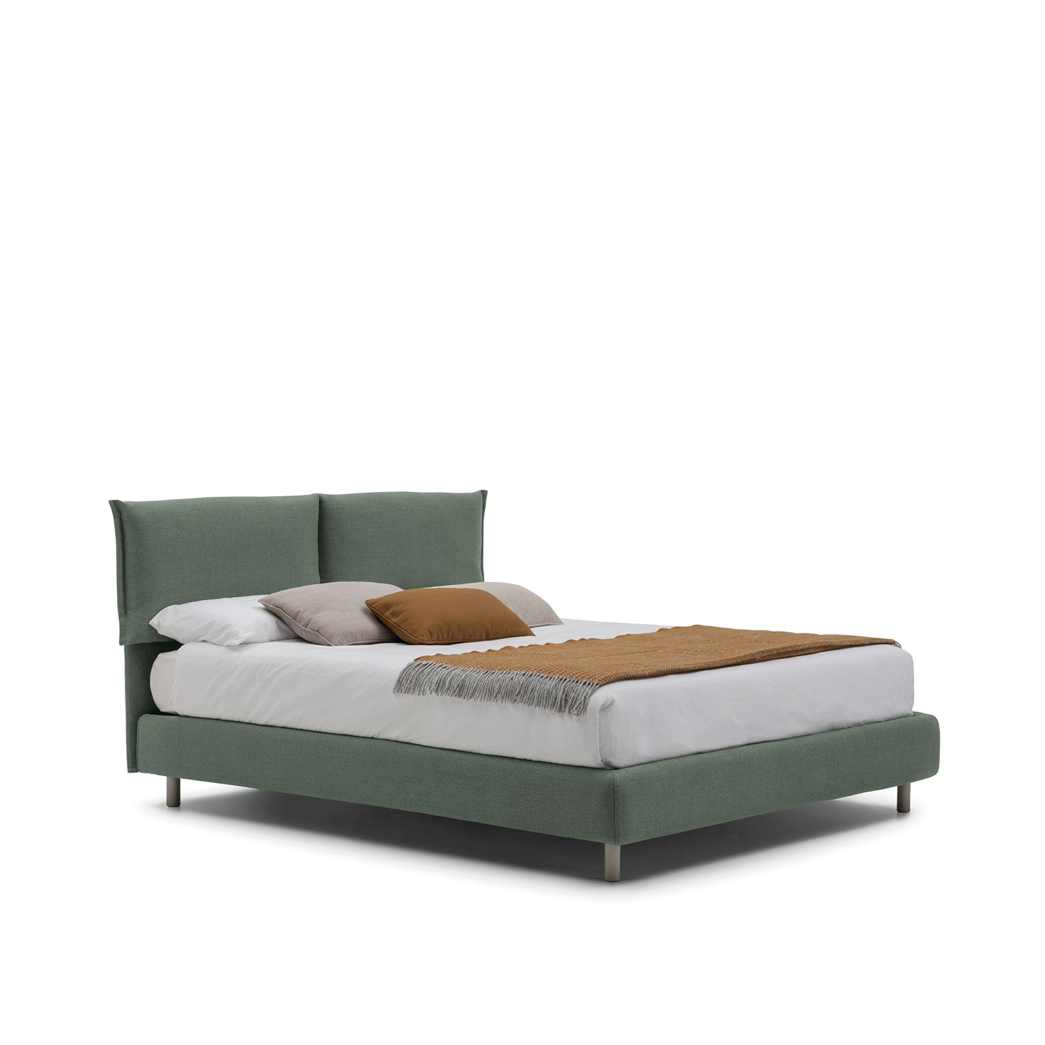 Iorca Bed - Tailored as an elegant dress, the headboard cushions are the most distinctive elements of Iorca. A project seeking beauty in its simplicity, interpreting best design lessons to achieve an impeccable result. The possibility to choose between different types of feet adds an extra touch of personalization.   All beds are available in different sizes and frame options. Please enquire for more details.   Matter of Stuff