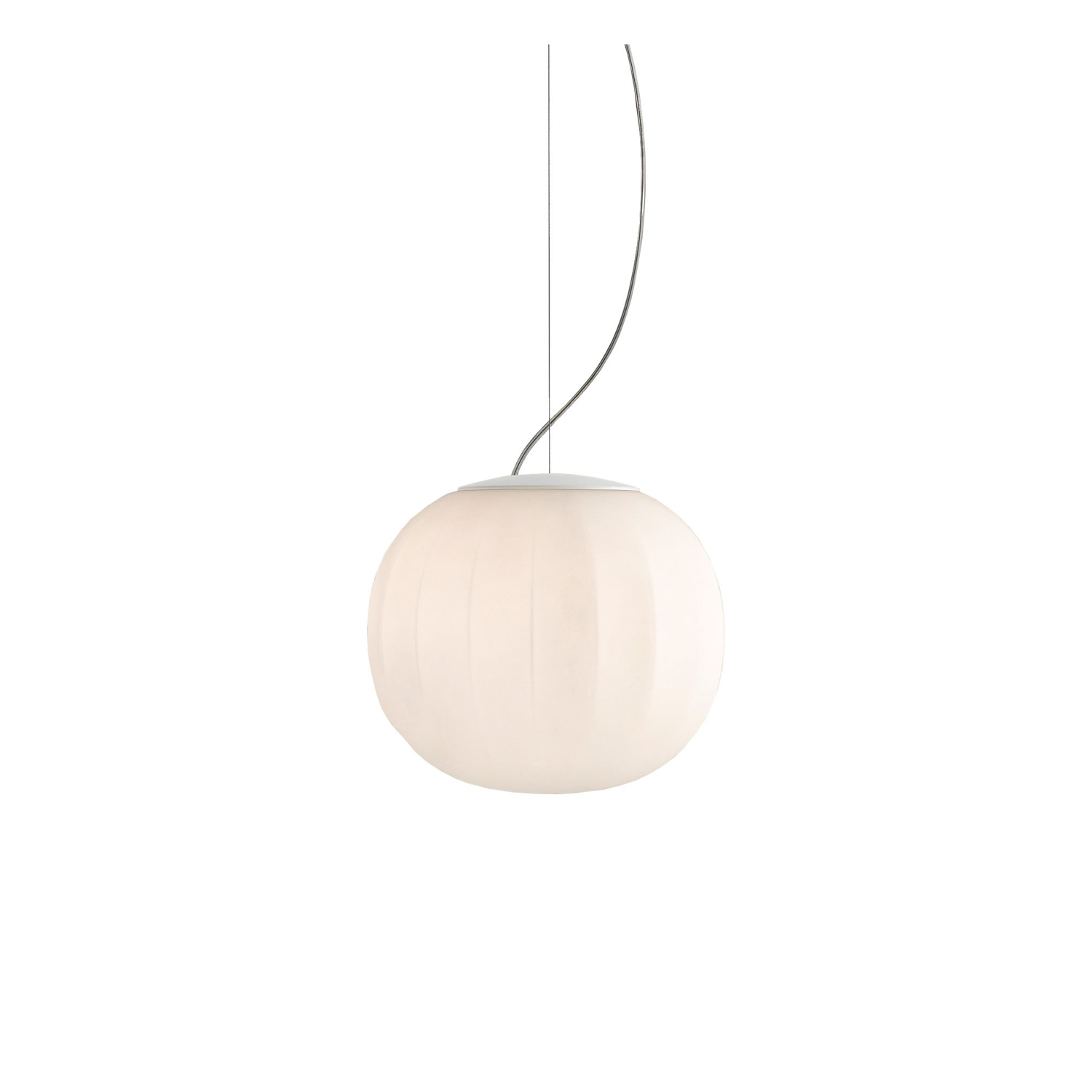 Lita Suspension Lamp -  The diffuser in opaline blown glass – whose surface is scanned by the repetition of slight vertical cusps that vanish at the extremities – is combined with a wooden structure, making Lita a product with a forceful material character. A timeless and evocative object that combines the crafts tradition with technical research, seductive in its way of matching visual and tactile sensations.  Multiple suspension version is available please enquire for more information | Matter of Stuff