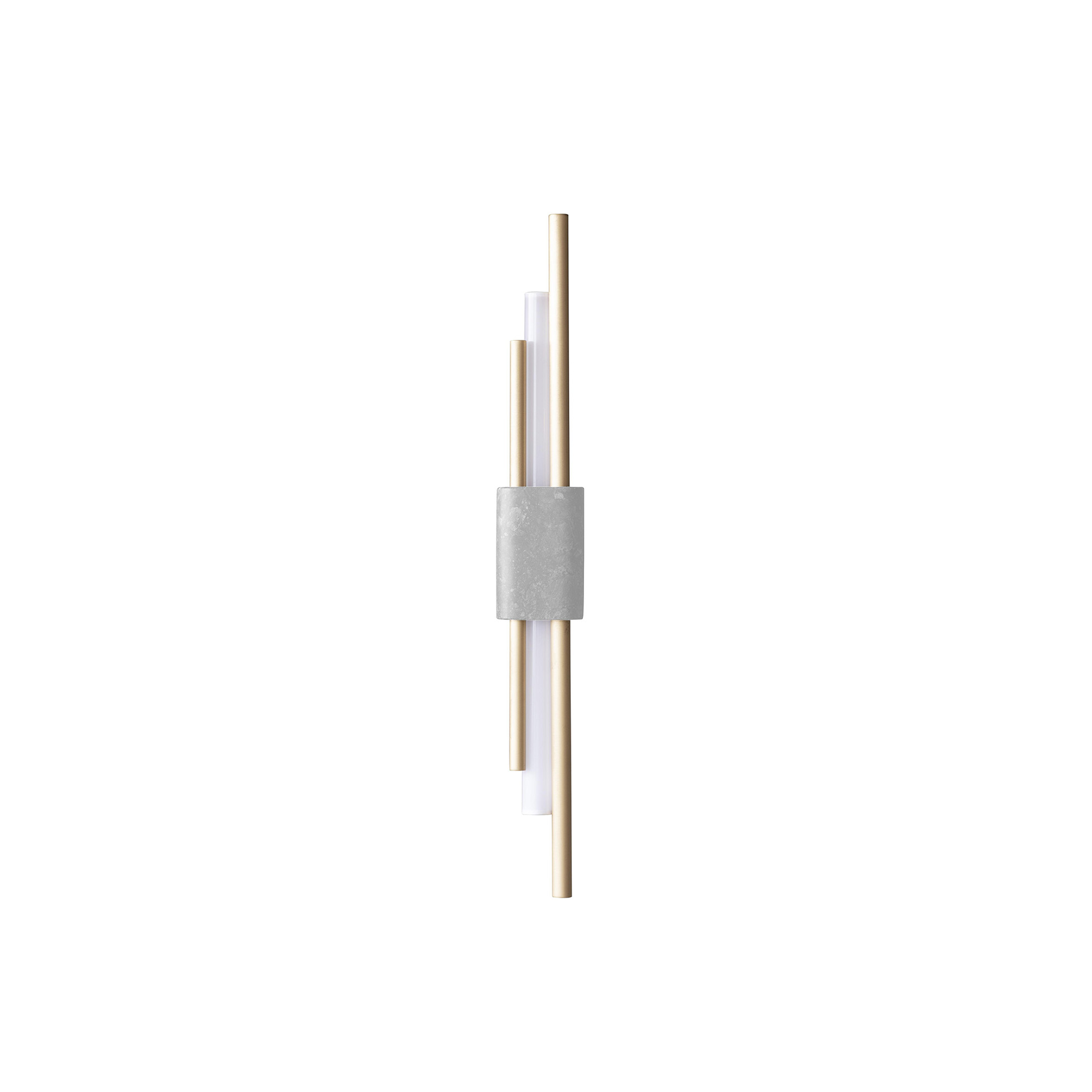 Tanto Wall Light - Large - The big brother to the Tanto Wall Light, this larger version has long and sculptural asymmetric brass rods combined with an opal lamp. With the addition of either Green Guatemala or White Carrera marble, this piece commands attention in any interior.  | Matter of Stuff