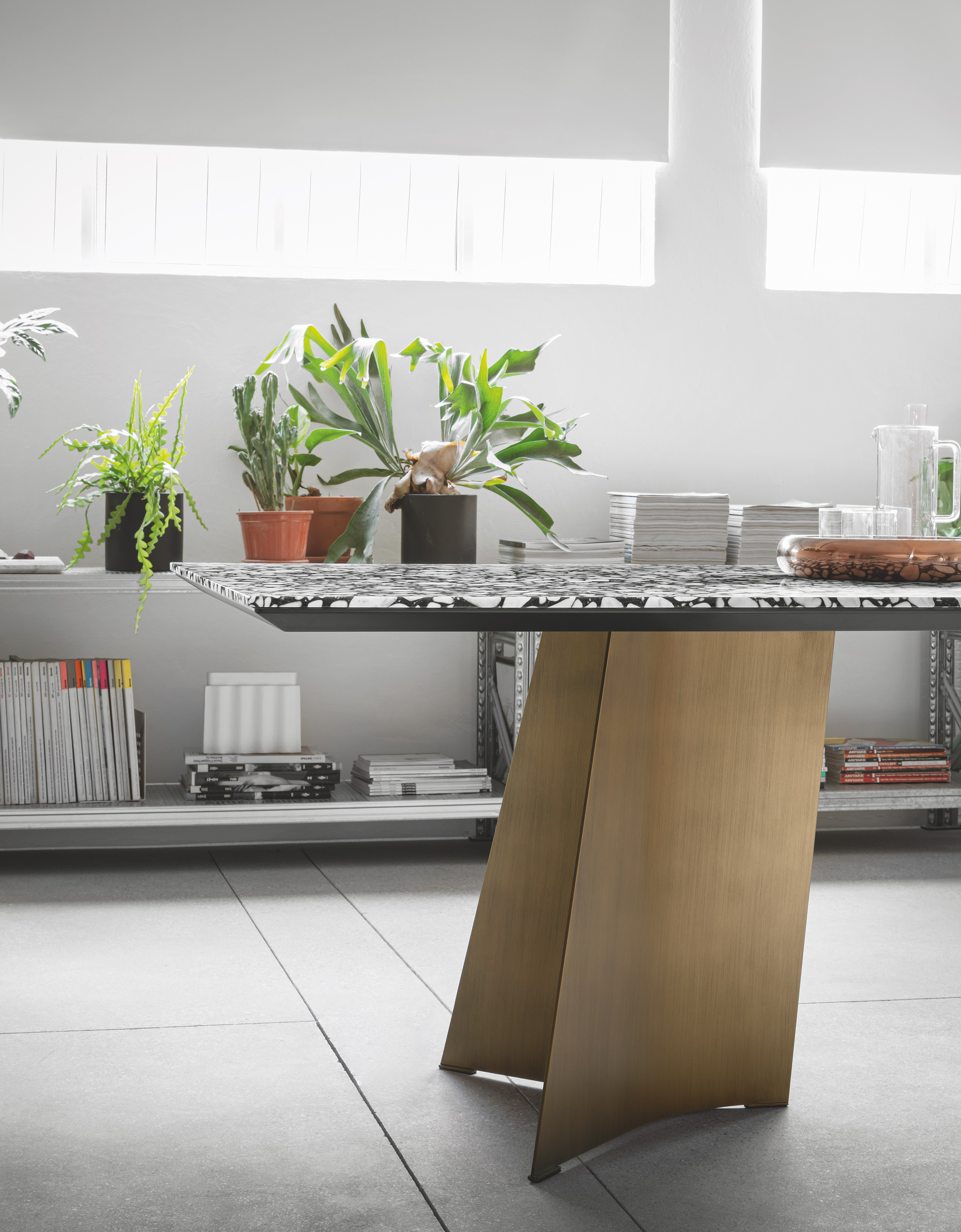 Maggese Table - Fixed table with legs in curved metal lacquered in white, silk grey, dusty grey, black, anthracite, bronzé, black iron or rusty effect. The top, fixed or extendible, is realised in Canaletto walnut, heat-treated oak, flamed oak, black ash, vintage oak, 700 oak, Fenix with wooden edges and white calacatta or black travertino ceramic.   More colours and materials including various types of wood are available in a number of combinations. Prices may vary. Please enquire for full details.  | Matter of Stuff