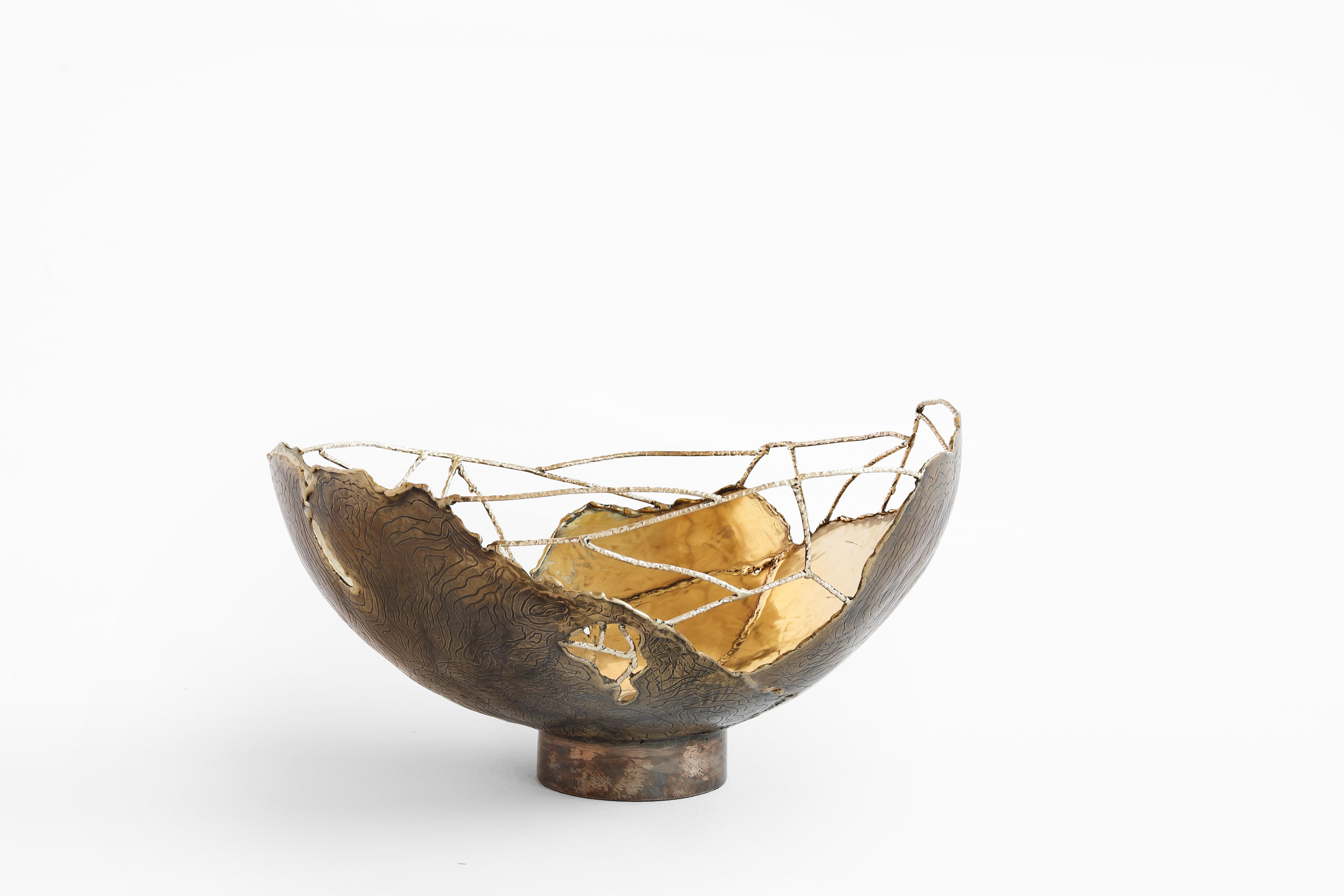 Bark Bowl - Brass wires then complete the shapes. Like a spider's web that joins the
