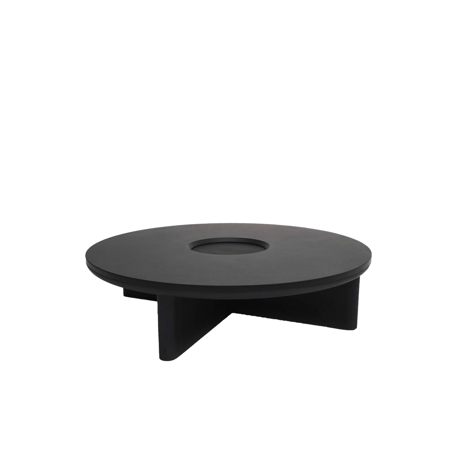 Focus Table - The Focus collection combines carved blackened oak with the organic richness of dark Welsh slate. The low-level circular coffee table features an aperture in the centre as a two-tier focal point while the deep grey slate acts as a window to frame the solid oak below.  | Matter of Stuff