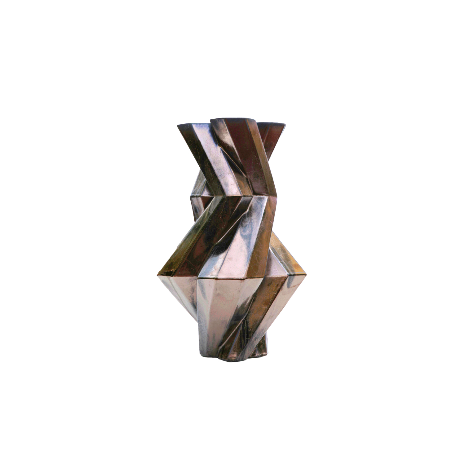 Fortress Castle Vase Bronze - Designer Lara Bohinc explores the marriage of ancient and futuristic form in the new Fortress Vase range, which has created a more complex geometric and modern structure from the original inspiration of the octagonal towers at the Diocletian Palace in Croatia. The resulting hexagonal blocks interlock and embrace to allow the play of light and shade on the many surfaces and angles. There are four Fortress shapes: the larger Column and Castle (45cm height), the Pillar (30cm height) and the Tower vase (37cm height). These are hand made from ceramic in a small Italian artisanal workshop and come in three finishes: dark gold, bronze and speckled white.  | Matter of Stuff