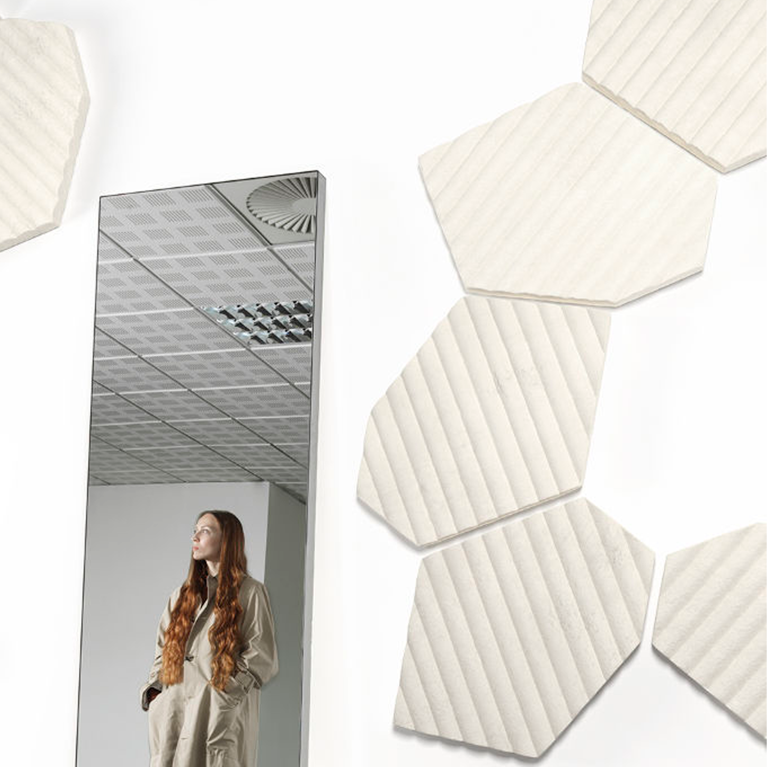 Fields Acoustic Panels - Acoustic collection marks an unprecedented revolution for interior design comfort.  Acoustic modules are made from soft, foam like mycelium materials grown on upcycled textile residues. Thanks to the unique technology, Acoustic panels represent today the most sustainable solution dedicated to acoustic comfort. They are characterised by a unique velvety finishing and different 3D shape, to maximise sound absorption as well as aesthetic comfort.   FIELDS: Inspired by patches of cultivated land as seen from above, Fields features an irregular hexagon shape. Its soft, velvety surface is marked by delicate stripes, recalling the pattern of the seeding tracks. A calm texture, evoking a long-lasting collaboration between Humans and Nature. Despite their irregular shape, Fields modules allow for perfect tiling compositions, by means of a simple rotation of its geometry on one side. When adjacent, as in their standard configuration, the lines always meet each other, creating a visually ordered and elegant pattern  Non-GMO, non-allergenic fungal strains, which do not release any spores throughout the whole production process. The materials have been tested for allergenic and VOC Emissions.  Available in the natural white version as well as in a range of colours, please refer to colour sheet attached below. | Matter of Stuff