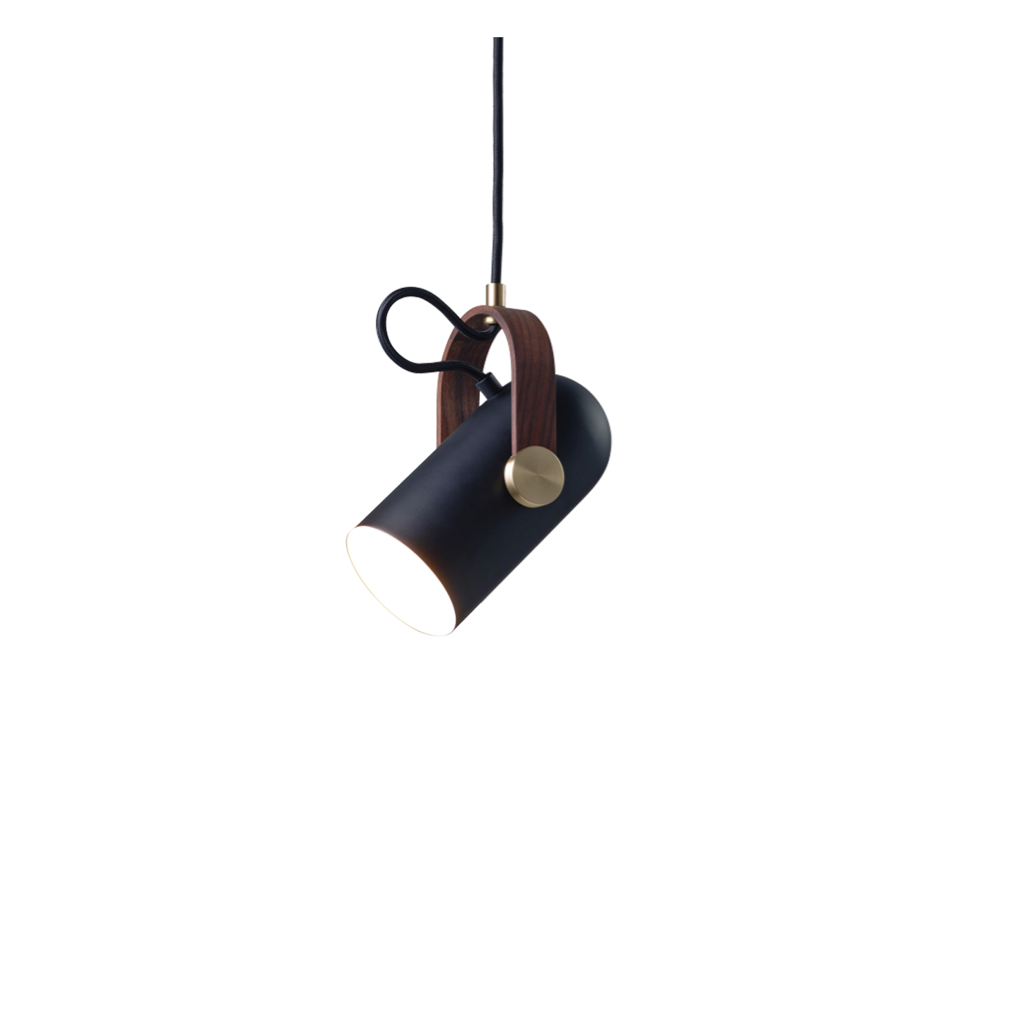 Carronade Spot Pendant - The CARRONADE spot pendant is the perfect spotlight. Ideal as a single working light and general light source for business and home use. These small pendants are perfectly sized to hang as a beautiful cluster, in a row or at various angles to highlight the rotating head feature.  Carronade spot pendant comes in a black or sand painted aluminium finish with brass or aluminium metal discs and American walnut or oak details.  This pendant is available in two different sizes.   It is not difficult to see how designer Markus Johansson drew inspiration from 17th-century ship cannons as he created the CARRONADE lamp series. The idea of a small table lamp, with a distinctive but playful shape of a small cannon, was quite a challenge. Realizing gunpowder and cannonballs references, by way of modern lighting technology then synchronized with 21st-century contemporary Nordic lighting designs, was no simple task but very much a 'Eureka' moment.   Matter of Stuff