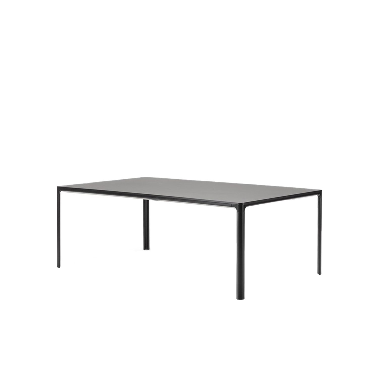 Mesa 4625 Table - With its slim 14 mm tabletop, Mesa is an understated line drawn through the room. The linoleum or laminate tabletop stands in sharp contrast to the soft curves of the aluminium frame and legs.  A simple, versatile table that blends seamlessly into any décor, Mesa gives the impression of a slim line that appears across a room. Boasting a thin tabletop laminate in contrast to the soft curves of the aluminium frame. Attached to the frame are the legs, which are placed at the outermost edges of the table. Allowing for the most leg room possible for any type of chair imaginable.   Whether as a desk, dining table or conference table, Mesa is a discrete, durable solution that's easy to assemble and disassemble. In a streamlined aesthetic that makes it a natural choice for virtually any situation. Adding a tranquil sense of simplicity even to the busiest of environments. | Matter of Stuff