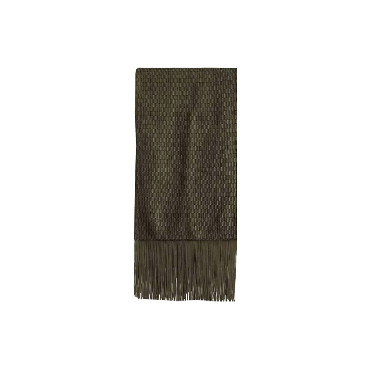 Maxi Catavento Fringe Woven Leather Throw - The Maxi Catavento Fringe Woven Leather Throw is designed to complement an ambient setting with natural and sophisticated feeling. Elisa Atheniense woven leather pieces, are handmade and manufactured in Brazil using an exclusive treated leather that brings the soft feel touch to every single piece.  This throw is woven with leather and suede leather. Please enquire for colour combination, see colour chart for reference. | Matter of Stuff