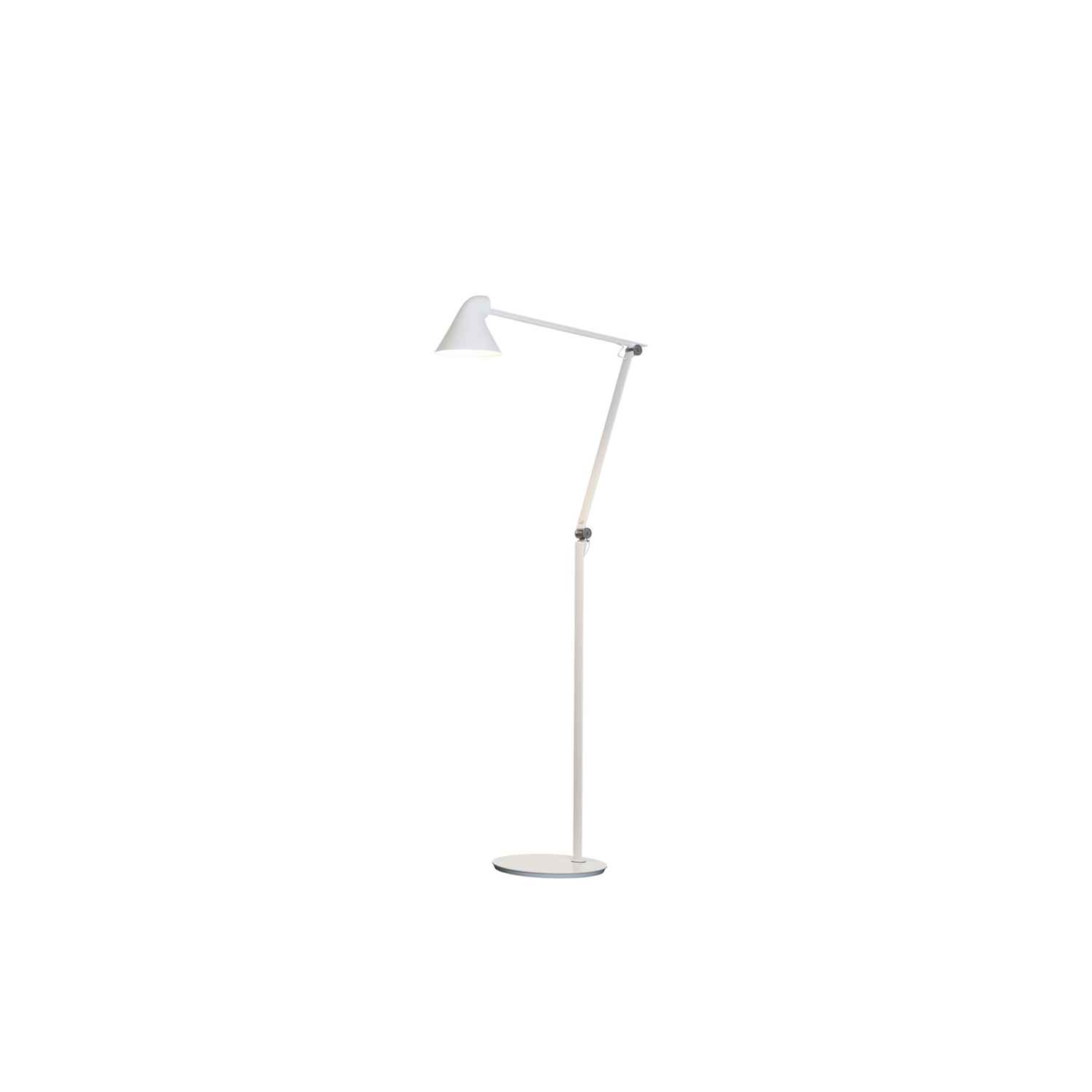 NJP Floor Light - The fixture provides direct glare-free horizontal light while reflecting some of the light through the rear of the head, illuminating the top of the arm. The ergonomic design of the fixture head shapes the light and gives optimal light direction. A simple mechanical system provides great freedom of movement, so the light can always be set in the ideal position in the workspace. The shade is painted white on the inside, reflecting comfortable diffused light. | Matter of Stuff