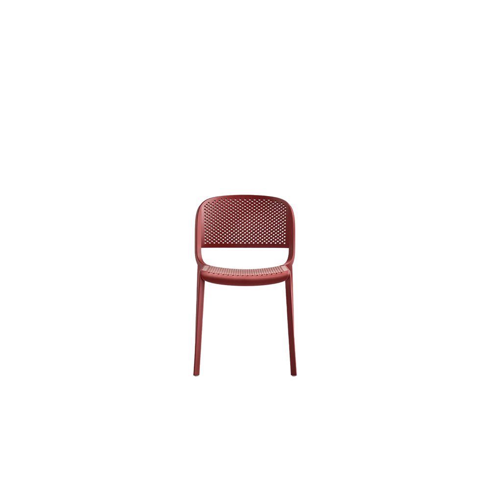 Dome 261 Chair - Dome is a collection of chairs that evokes the glorious tradition of bistro chairs with arched silhouettes and the generous shapes of the domes of monuments that embellish many cities in the world.  Injection-moulded polypropylene chair charged with glass fibre and perforated seat and back. Functional, versatile and relatively small, this chair is suitable for both outdoor and indoor use. Stackable.      Matter of Stuff