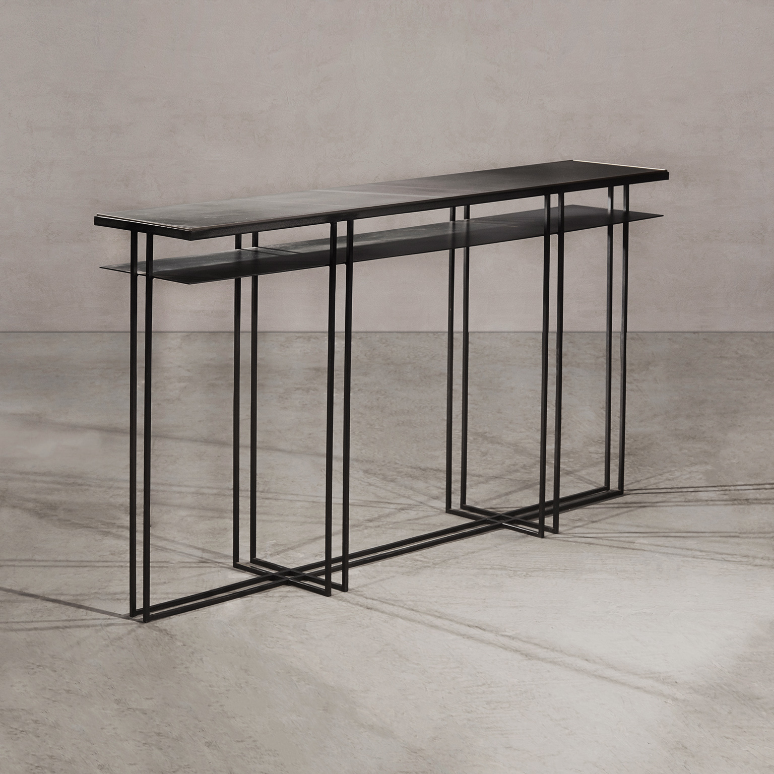 Cross Binate - Console - A console table in blackened steel and honed Cumbrian slate, with a polished brass trim. Hand crafted to order in the North. Custom sizes and finishes are available.  | Matter of Stuff