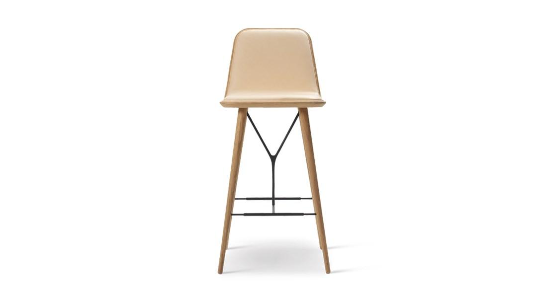 Spine Wood Base Barstool Front Upholstered