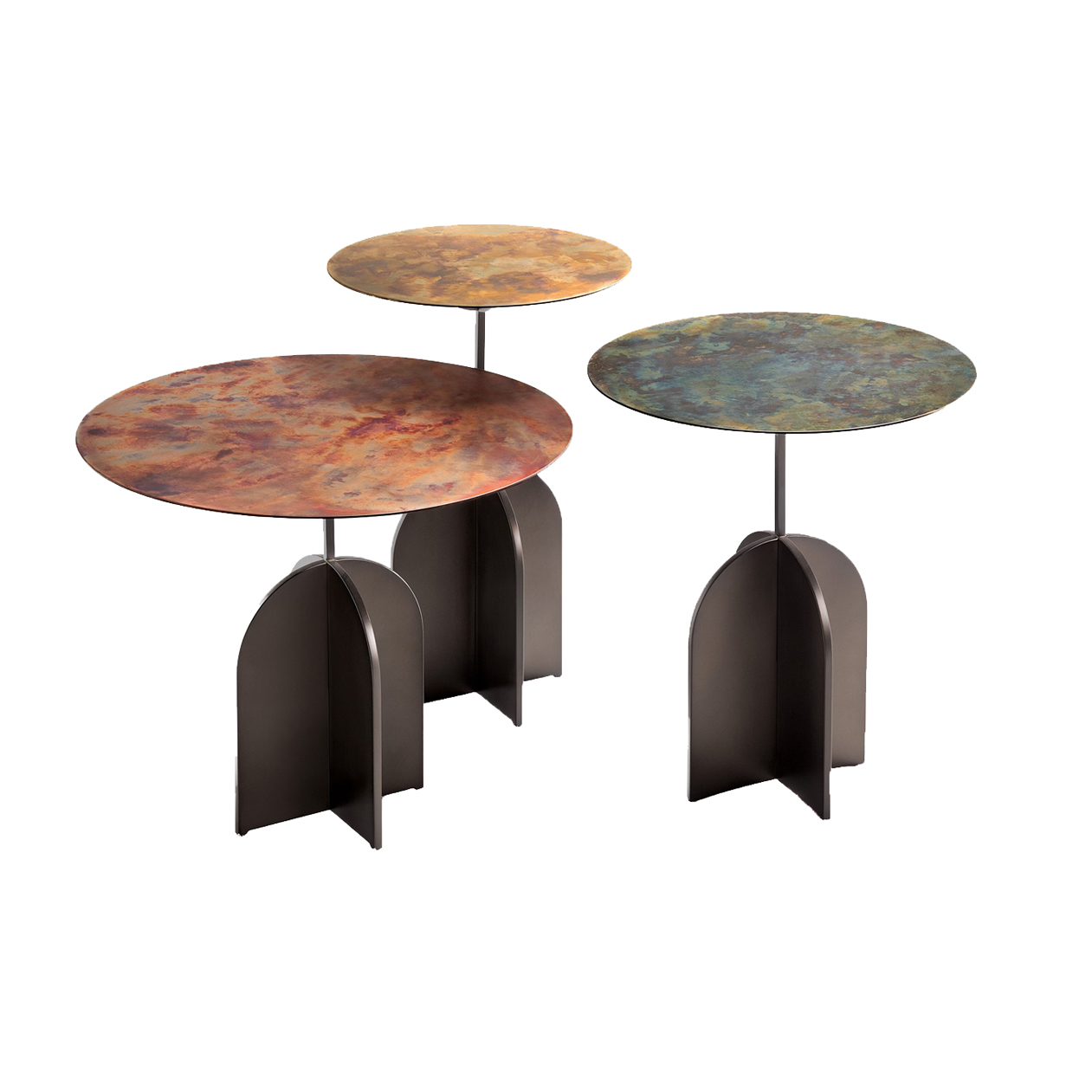 Nicola Coffee Table - Decisive geometries for a table characterised by the superimposition of three apparently-contrasting elements. The robust cross-shaped base anchors the structure to the ground while the thin round top rests on a slender stem, like a delicate leaf that emerges from deep roots. The base and the stem are in Delabré iron while the top is enhanced by different refined metals and De Castelli finishes.  Set of 100% metal side tables characterised by a heavy cross-shapedbase that balances the round top. | Matter of Stuff