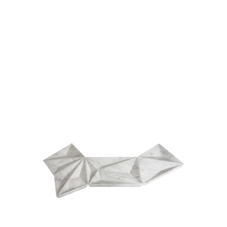 Dune s, m, l, xl - Contemporary geometrical centerpiece made from Bianco Carrara. | Matter of Stuff