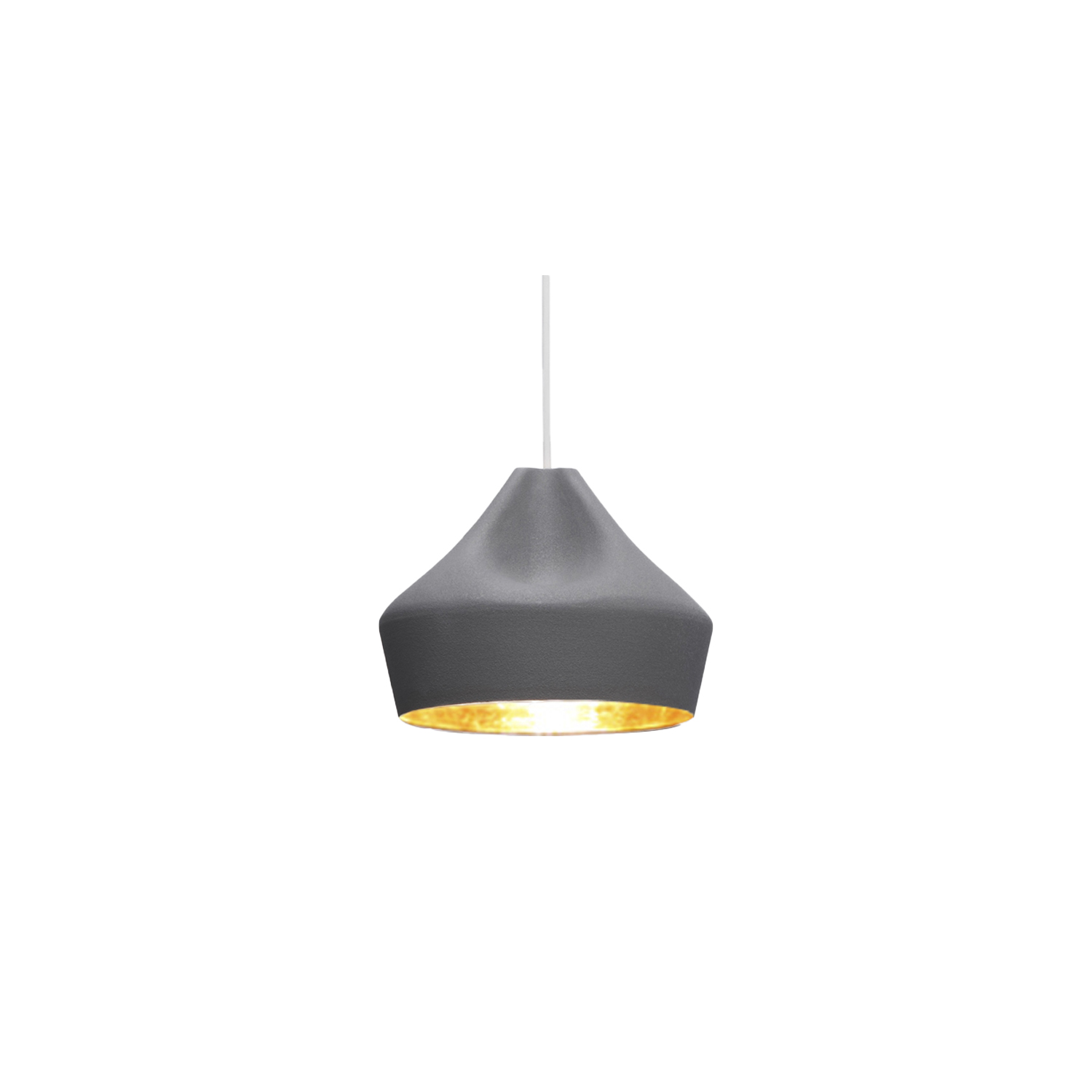 Pleat Box 24 Pendant Light - The idea behind the Pleat Box is a sophisticated combination between a digitally designed crease in a piece of cloth and a silhouette that is applied to a ceramic base. The outer part of the lamp is offered in white ceramic, brown, black, terracotta, and grey– the direct result of recycling different enamels. The interior is available in brilliant white enamel, which enhances the luminous light from the lamp, or 24k gold, which generates an extremely warm light. The Pleat Box collection is now available with an integrated LED technology, which projects indirect light and prevents glare. The cord length is 200cm. Please enquire for more information.  | Matter of Stuff