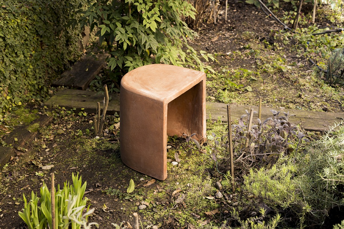"""Cave Stool - <p>Cave is an informal terracotta seat designed for outdoor spaces. The choice of this natural material inspired the designer Mario Scairato to create """"an object that can exist in symbiosis with nature, tamed or otherwise, but above all can take on charm, ageing gracefully while freely braving the elements.</p>  