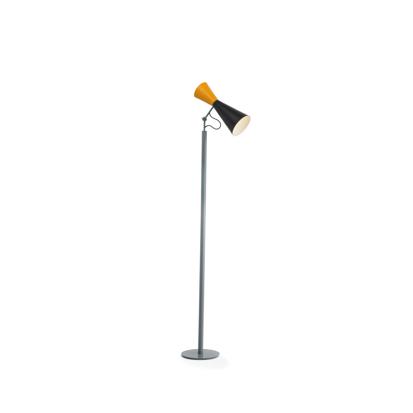 Parliament Floor Lamp - Le Corbusier designed the lamp Parliament for the Chandigarh Parliament in India.‎ Floor lamp, double adjustable emission, in painted aluminium with diffusers matt black and yellow or white and grey and in the new finishing matt black and red.‎ Whitewash internal diffusers.‎ Stem matt grey.‎ Prices are with bulb not included.