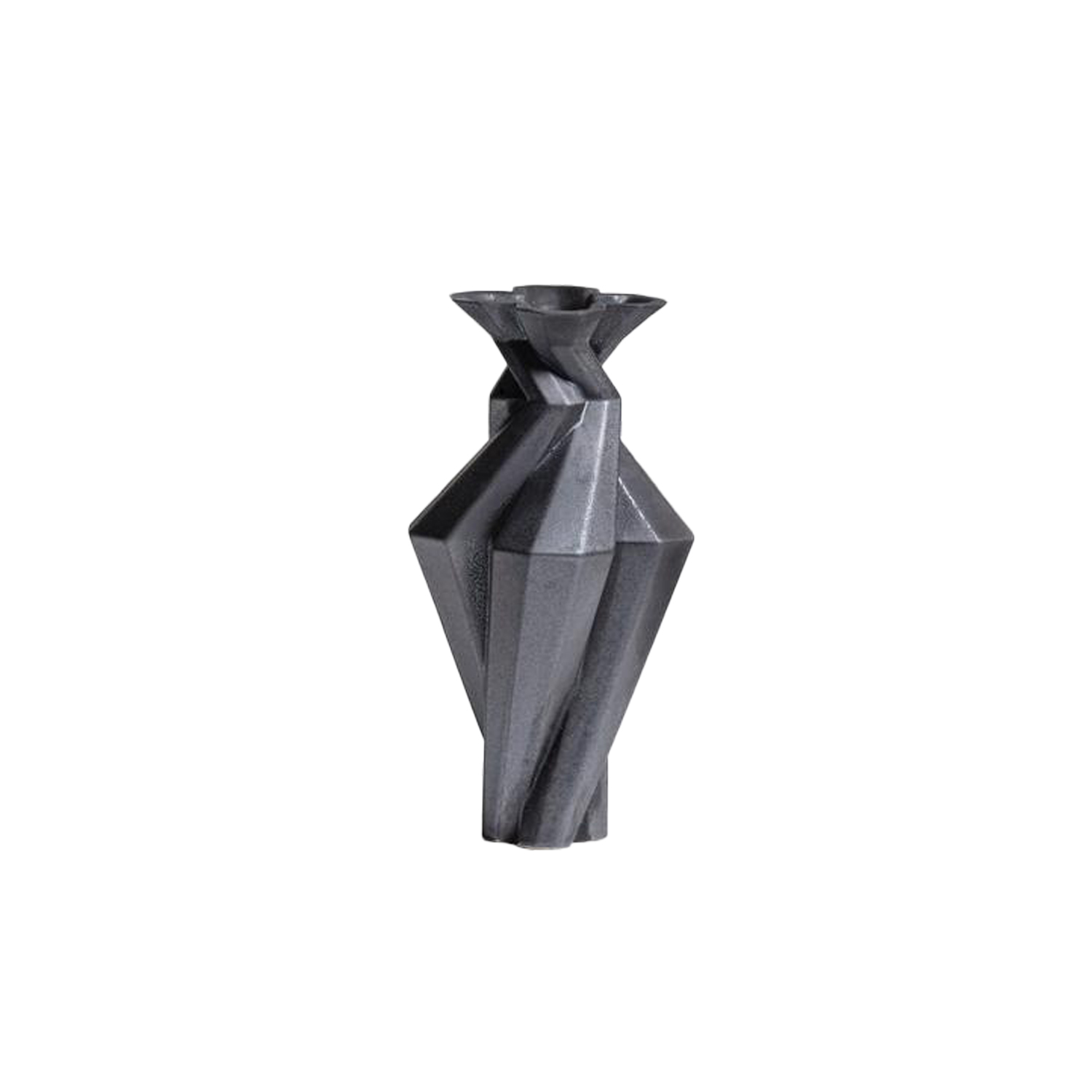 Fortress Spire Iron - Designer Lara Bohinc explores the marriage of ancient and futuristic form in the new Fortress Vase range, which has created a more complex geometric and modern structure from the original inspiration of the octagonal towers at the Diocletian Palace in Croatia. The resulting hexagonal blocks interlock and embrace to allow the play of light and shade on the many surfaces and angles. There are four Fortress shapes: the larger Column and Castle (45cm height), the Pillar (30cm height) and the Tower vase (37cm height). These are hand made from ceramic in a small Italian artisanal workshop and come in three finishes: dark gold, bronze and speckled white.  | Matter of Stuff