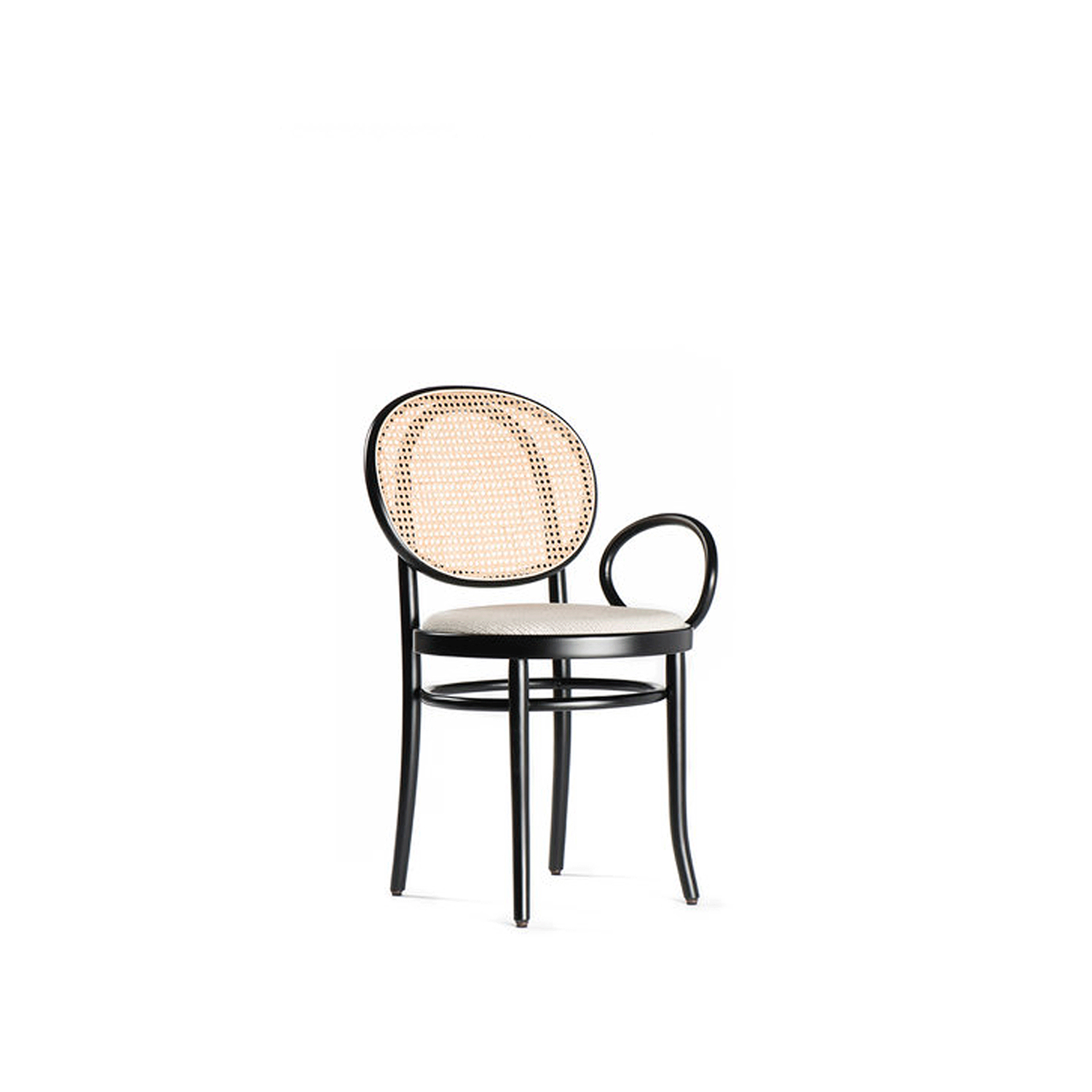 No.0 Chair - Combining the contemporary and playful aesthetic of the Swedish duo with the century-old tradition of Viennese furniture, this armchair boasts a steam-bent beechwood frame finished with black lacquer that features a single round armrest on one side. The frame envelops the round seat with white fabric upholstery and the backrest with stunning Viennese straw.  | Matter of Stuff