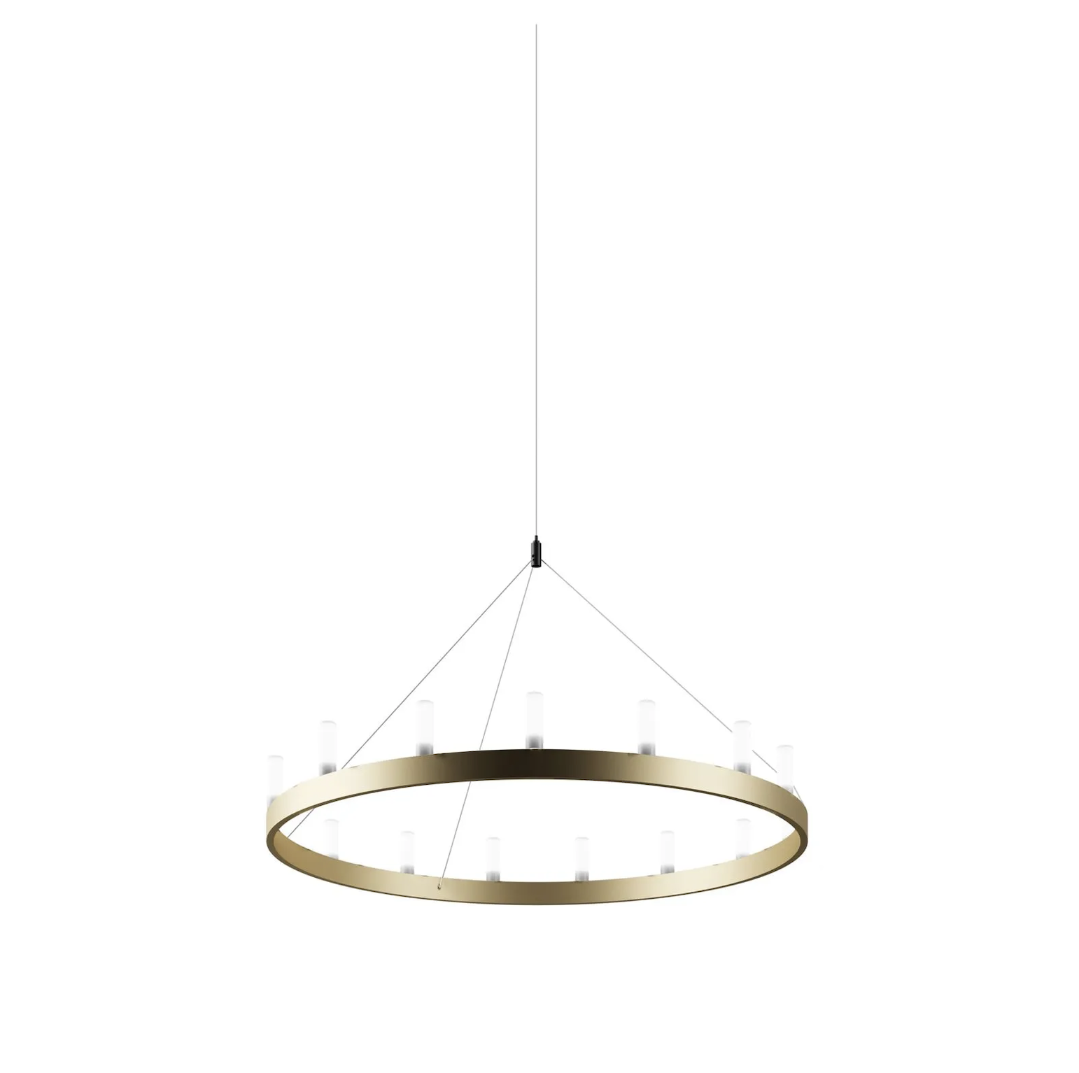 Chandelier Suspension Lamp - This spectacular lamp designed by David Chipperfield is inspired by those at the court of King Arthur. Available in two colours, in a single or double version with two concentric circles, it is a classy elegant lighting solution for any setting, even the most modern and minimal.New gold finishing, absence of tiges, 5 m length cables.  Suspension lamp with indirect and dimmable light. Painted metal frame. Sandblasted borosilicate glass diffusers. Steel suspension cable. Transparent power cable. Painted metal ceiling rose. Bulb not included. | Matter of Stuff