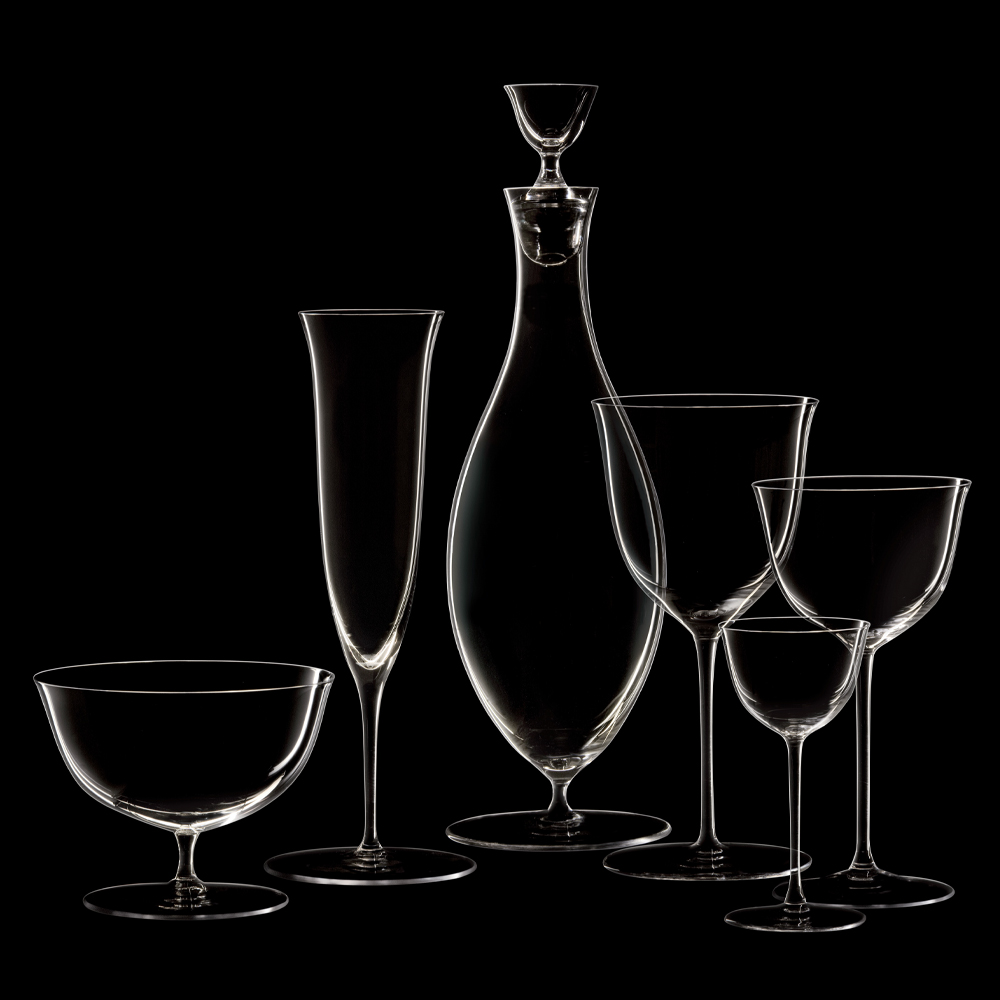 Drinking Set No.238 Wine Decanter with Stopper - The perfectly flowing contours of these original Josef Hoffmann shapes make this muslin glass series a classic. This elegantly balanced stemware was designed by Hoffmann for Lobmeyr already in 1917. The material - very fine (muslin) glass, mouth-blown in wooden moulds provides perfect elegance for these glasses.  | Matter of Stuff