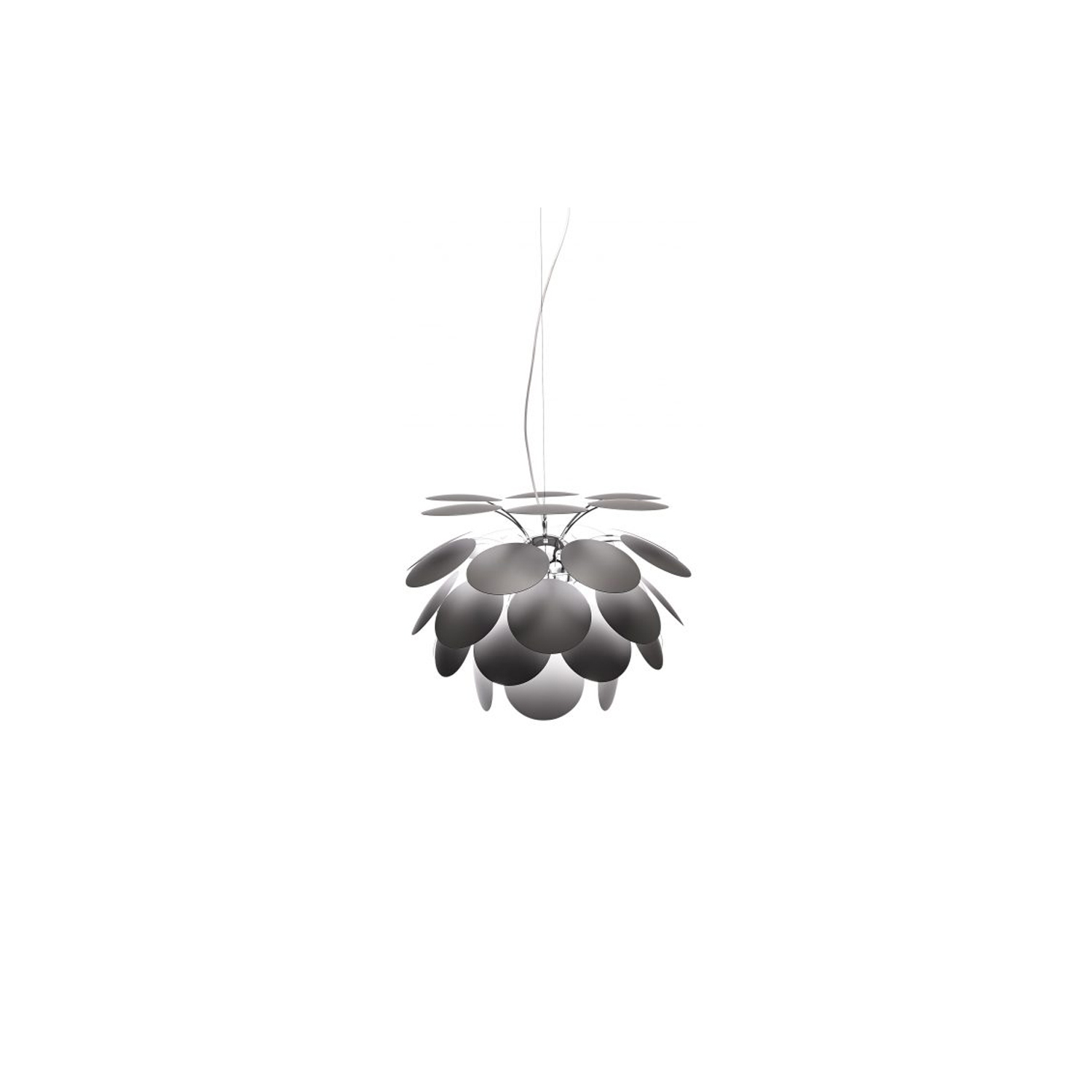 Discoco 68 Pendant Light - Discocó lamp provides direct downward illumination along with a dramatic play of lights and soft shadows.  Its detailed study of incident light and light that bounces off of both sides of the 35 disks provide the lamp with an appealing gradation of light nuances and depth. Further reflections dance off the chrome-covered sphere at the core, where the disks are anchored.  When the light is turned off, it retains its attractive presence, hinting at the expansion of energy that is fully expressed when it is turned on.  Two new tones, beige and grey, have been added to the existing color range, this time with a matte finish. A new 68 cm diameter is also available, making a total of five sizes to cover a host of applications. | Matter of Stuff